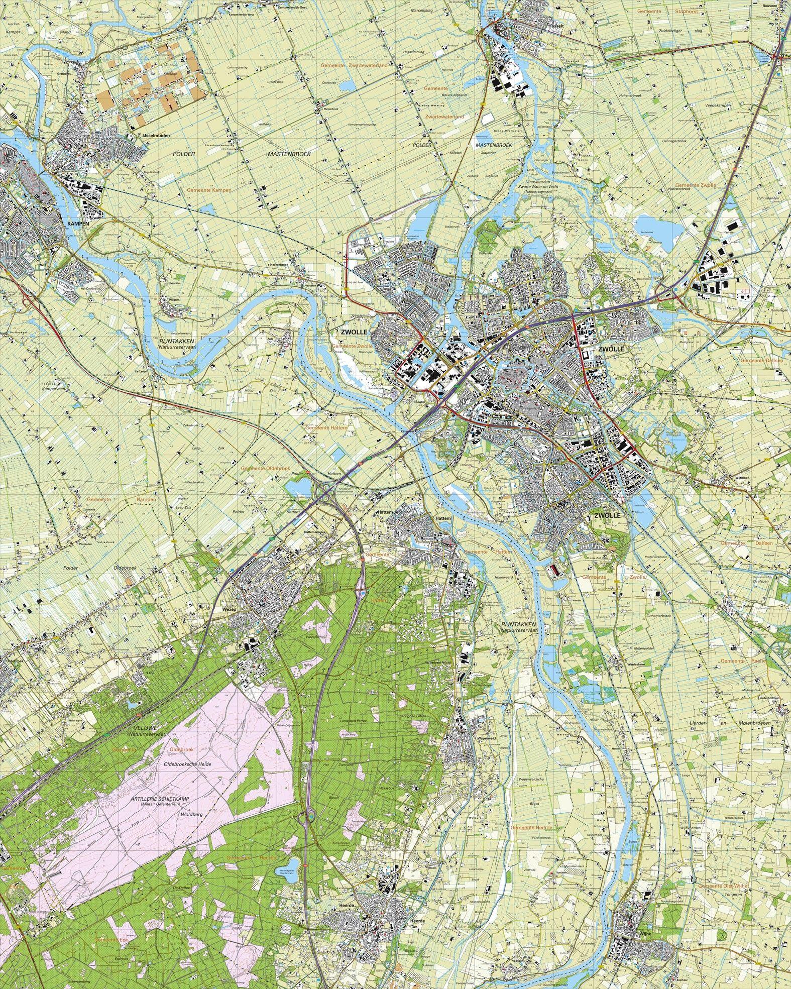 Topografische kaart schaal 1:25.000 (Zwolle, Kampen, Hattem, Wezep, Heerde, Wijhe)