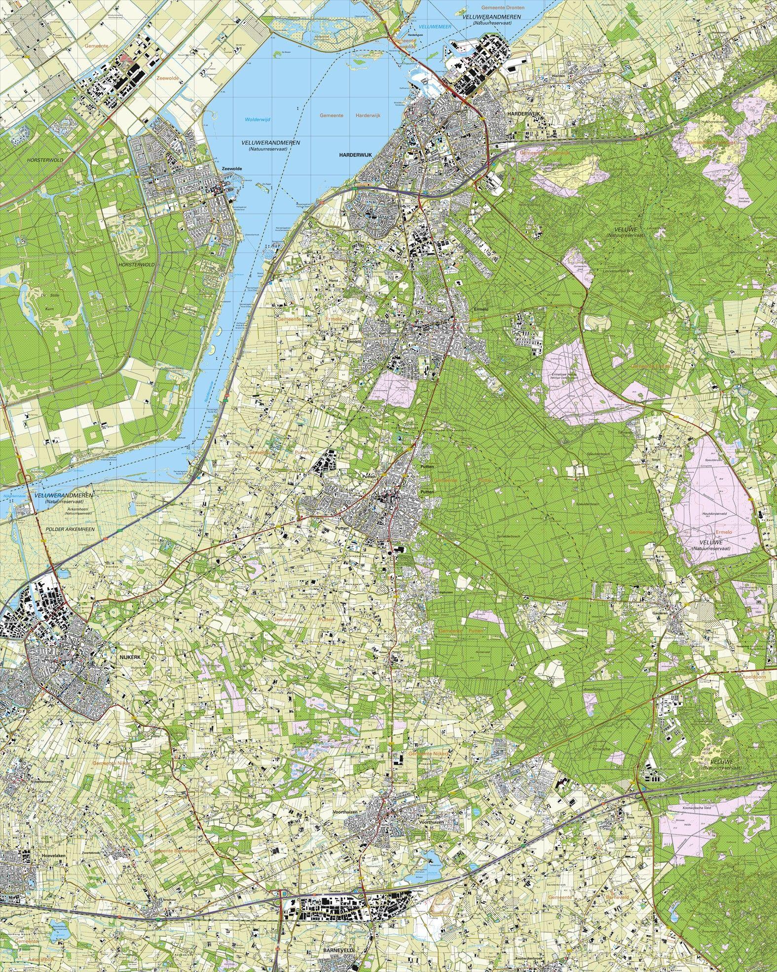 Topografische kaart schaal 1:25.000 (Harderwijk, Zeewolde, Ermelo, Putten, Nijkerk, Voorthuizen)
