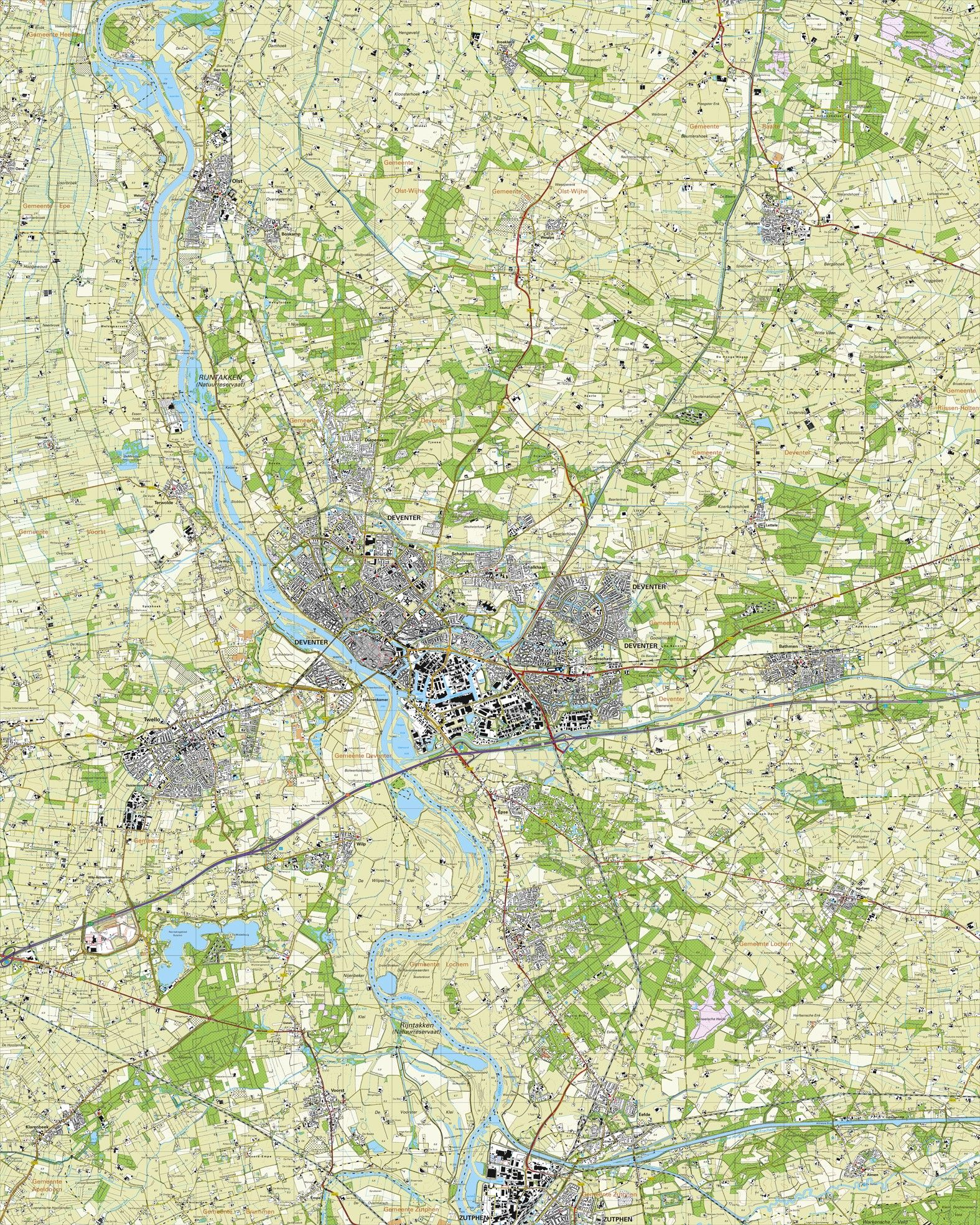 Topografische kaart schaal 1:25.000 (Deventer, Twello, Olst, Zutphen, Gorssel, Bathmen)