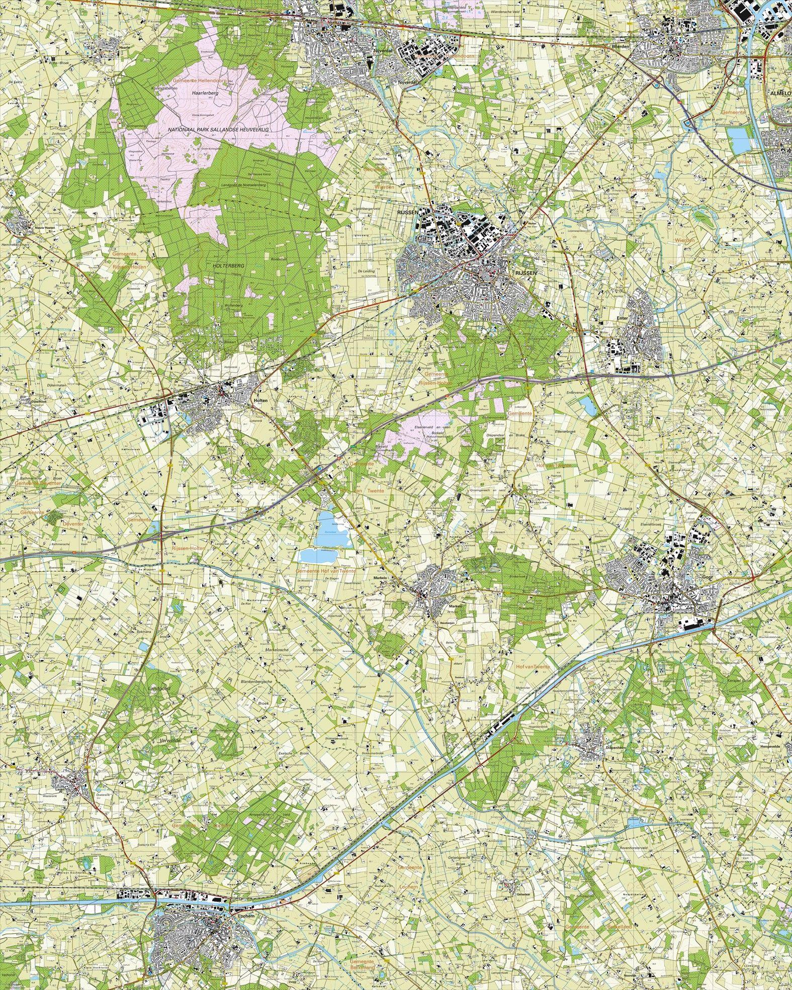 Topografische kaart schaal 1:25.000 (Rijssen, Wierden, Nijverdal, Goor, Markelo, Lochem)