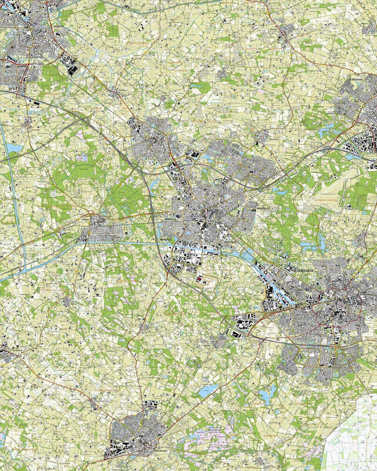 Topografische kaart schaal 1:25.000 (Almelo, Hengelo, Borne, Oldenzaal, Enschede, Haaksbergen)