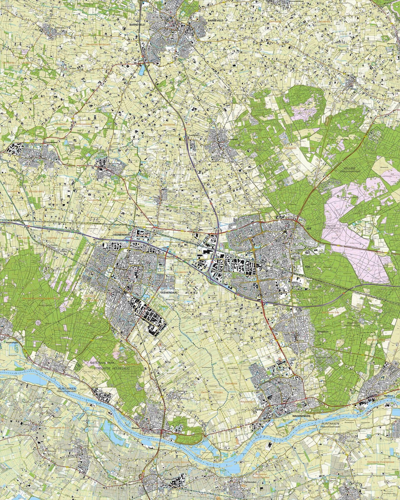Topografische kaart schaal 1:25.000 (Barneveld, Scherpenzeel, Lunteren, Veenendaal, Ede, Bennekom, Wageningen)