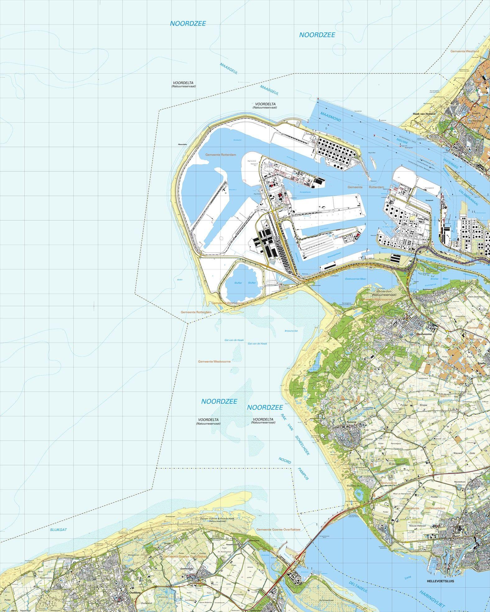 Topografische kaart schaal 1:25.000 (Maasvlakte, Oostvoorne, Hoek van Holland, Rockanje, Hellevoetsluis)