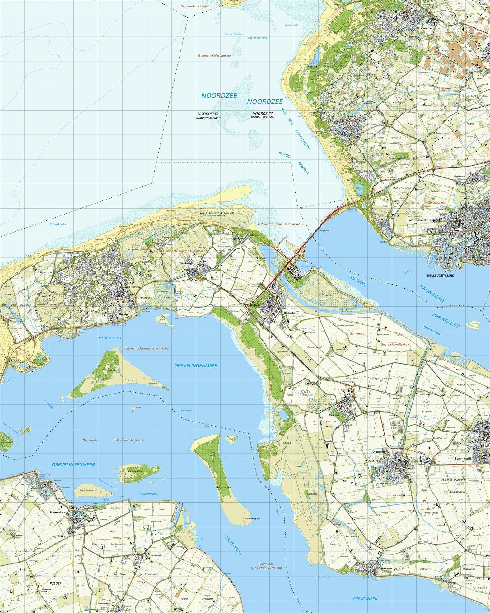 Topografische kaart schaal 1:25.000 (Hellevoetsluis, Rockanje, Ouddorp, Stellendam, Dirksland)