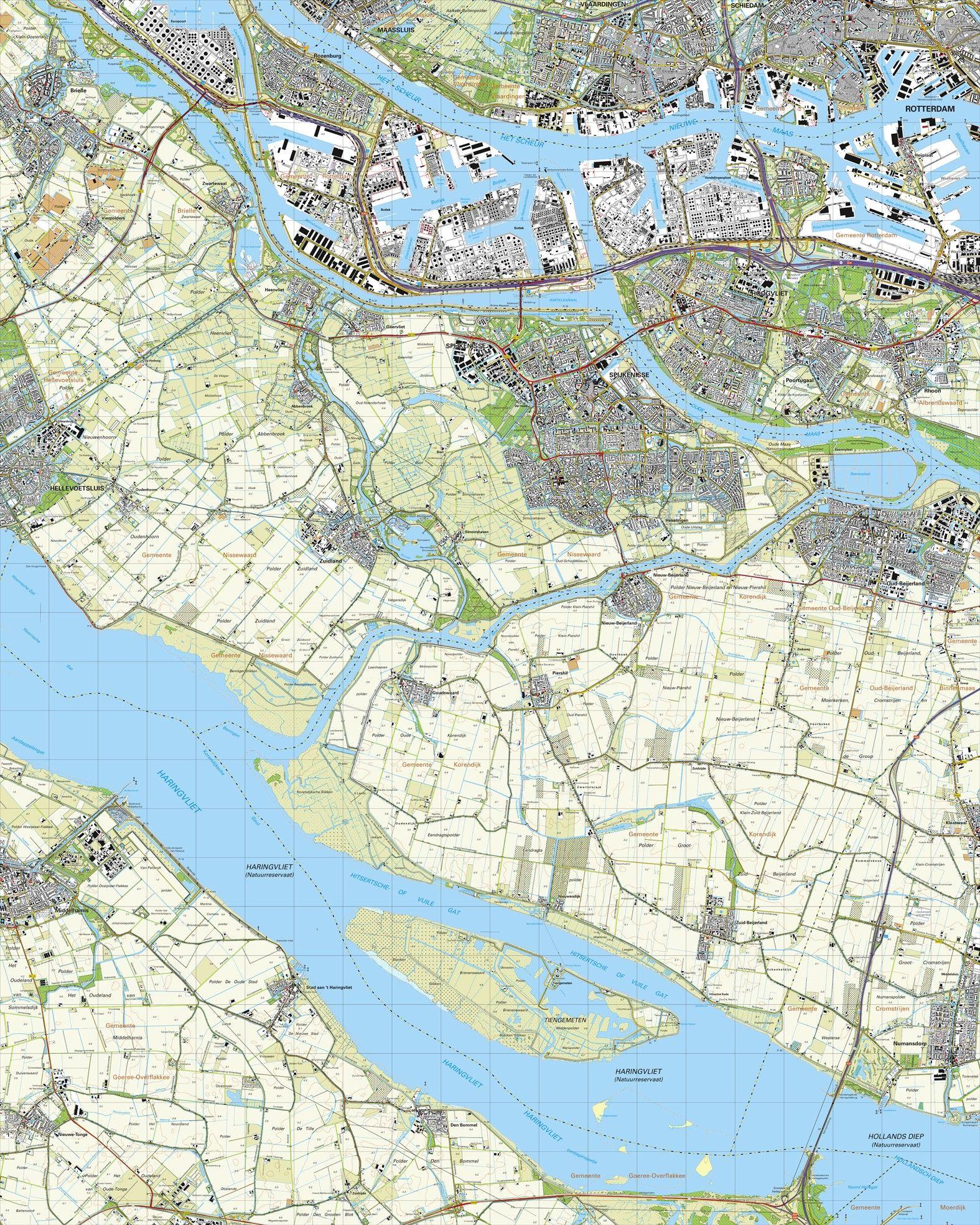 Topografische kaart schaal 1:25.000 (Rotterdam, Hoogvliet, Spijkenisse, Oud-Beijerland, Numansdorp)