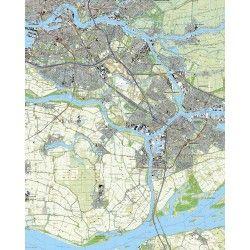 Topografische kaart schaal 1:25.000 (Rotterdam, Ridderkerk, Barendrecht, Zwijndrecht, Papendrecht,Dordrecht)