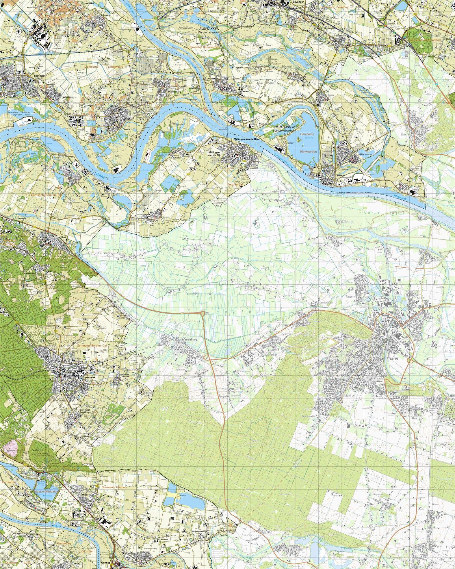 Topografische kaart schaal 1:25.000 (Millingen aan de Rijn, Tolkamer, Gendt, Lobith, Groesbeek)