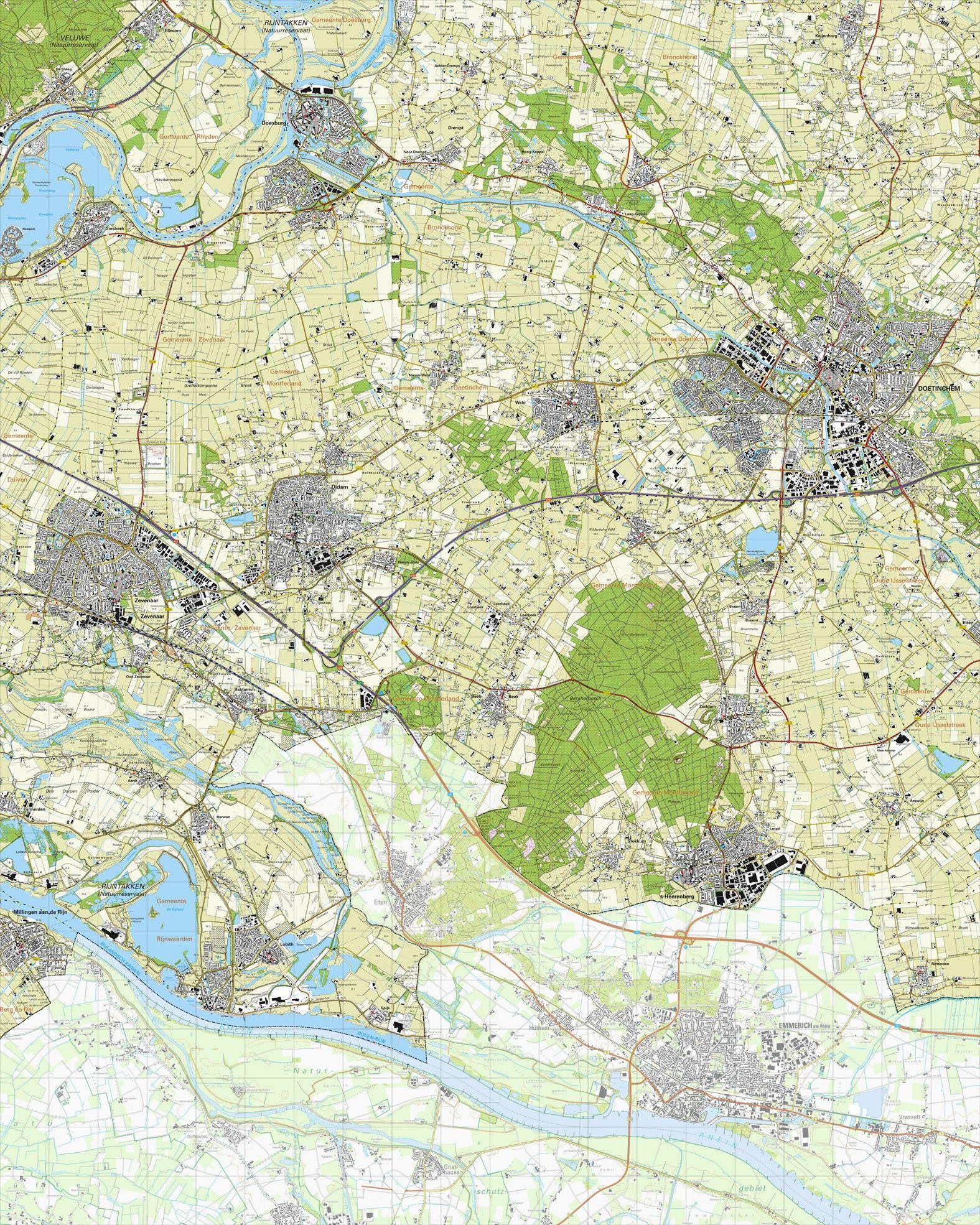 koop topografische kaart schaal 1 doetinchem zevenaar didam 39 s heerenberg zeddam. Black Bedroom Furniture Sets. Home Design Ideas