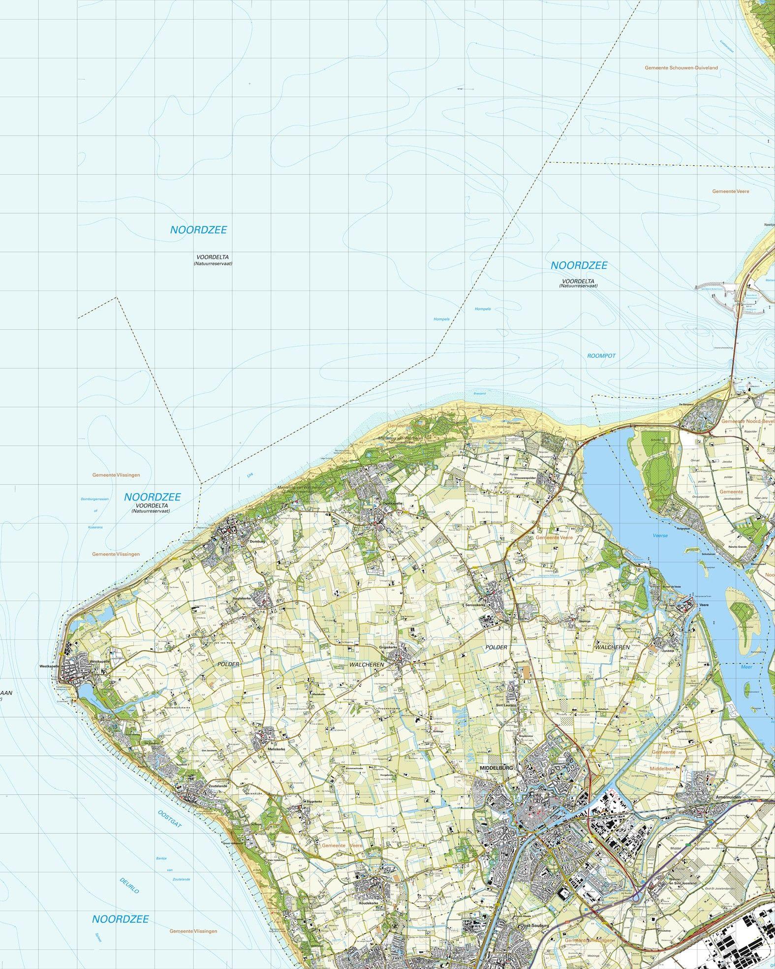 Topografische kaart schaal 1:25.000 (Westkapelle, Oostkapelle, Domburg, Middelburg, Arnemuiden)