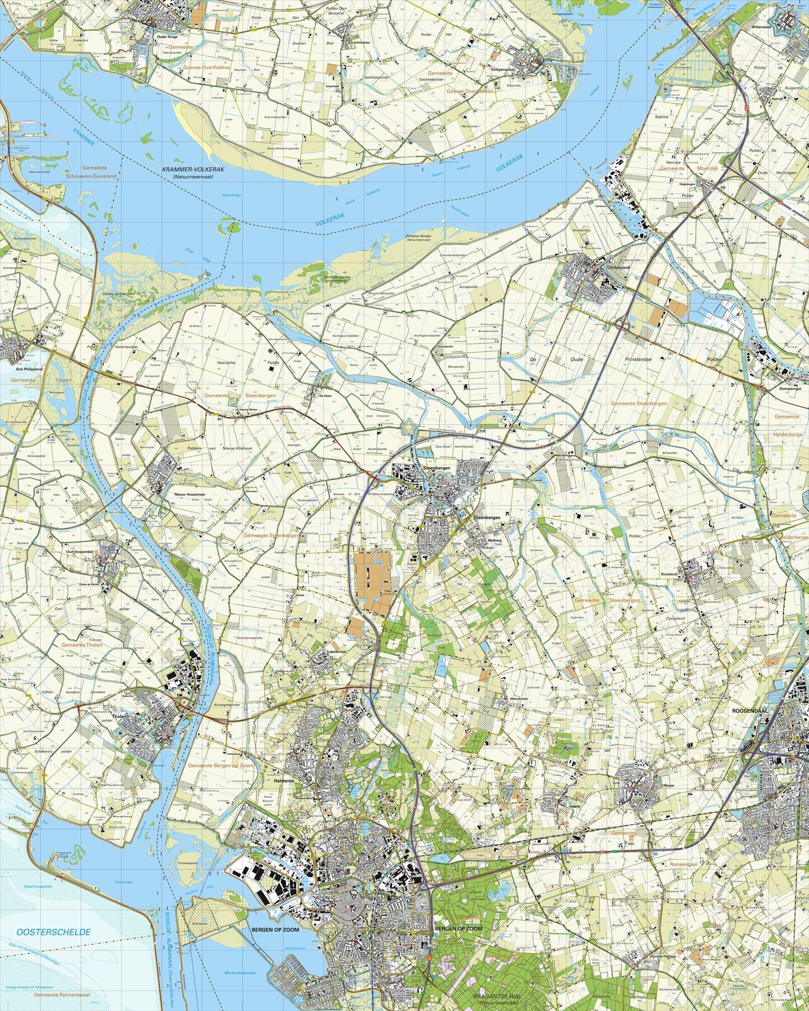 Topografische kaart schaal 1:25.000 (Bergen op Zoom Tholen, Halsteren, Steenbergen, Roosendaal, Dinteloord)