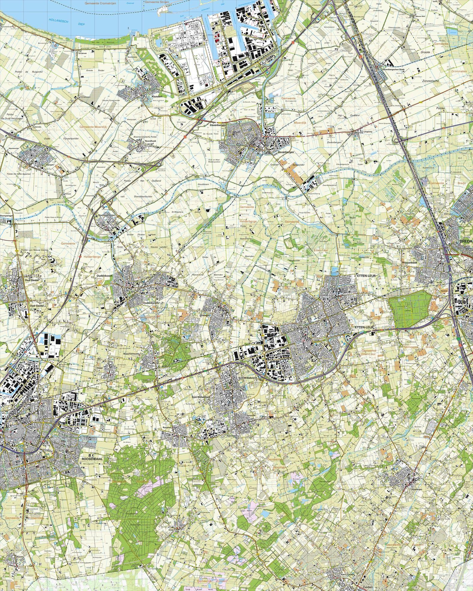 Topografische kaart schaal 1:25.000 (Roosendaal, Etten-Leur, Breda, Zevenbergen, Moerdijk, Rucphen)