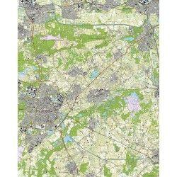 Topografische kaart schaal 1:25.000 (Tilburg, Waalwijk, Drunen, 's-hertogenbosch, Vught, Oisterwijk)