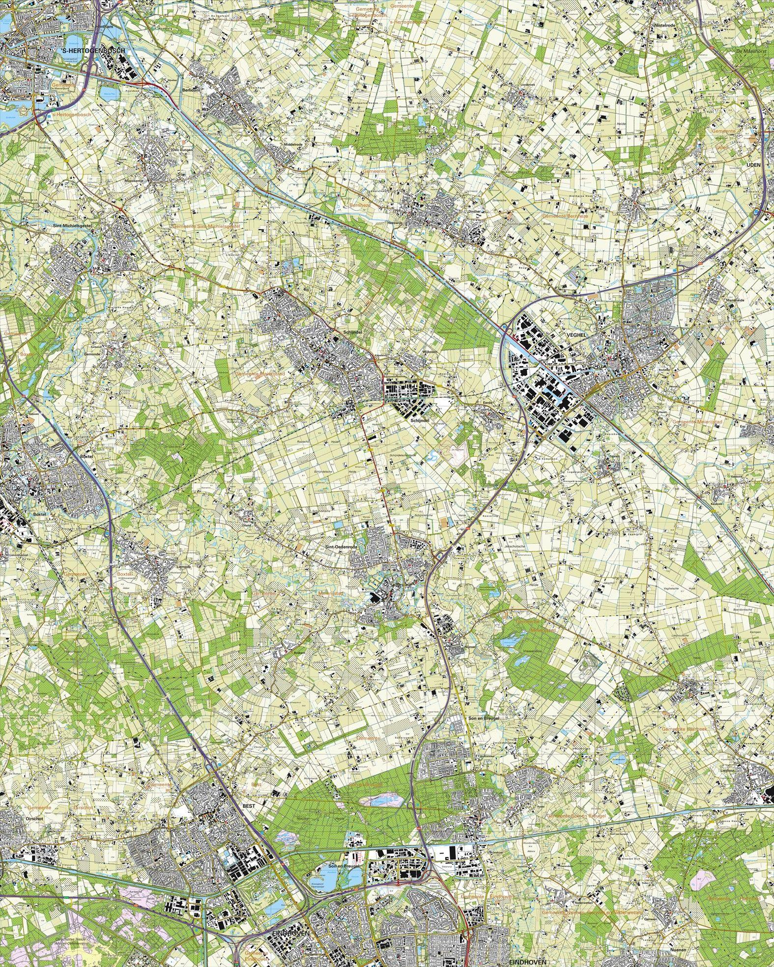 Topografische kaart schaal 1:25.000 (Eindhoven, Best, Veghel, Schijndel, Boxtel, Berlicum)