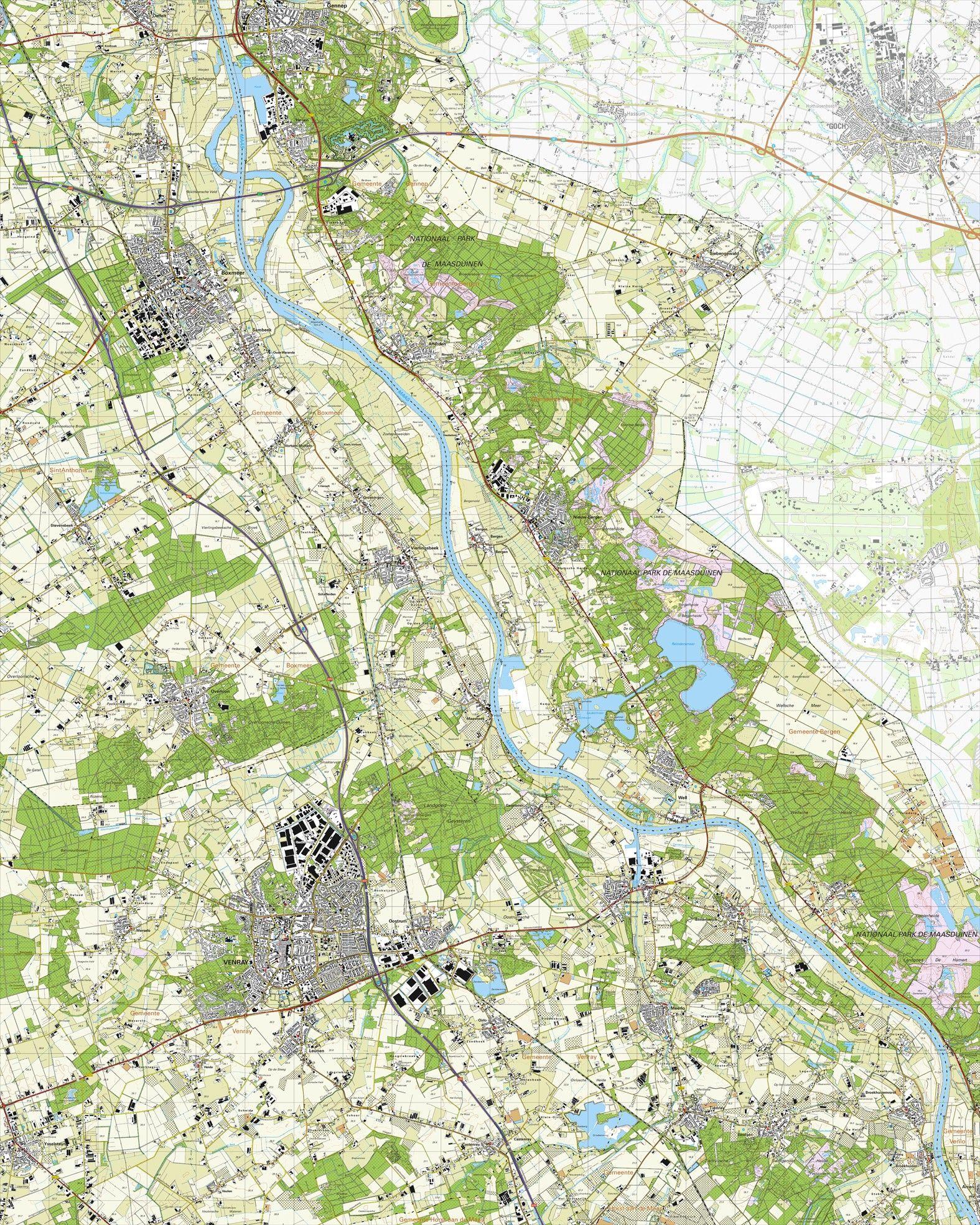 Topografische kaart schaal 1:25.000 (Boxmeer, Vierlingsbeek, Venray, Overloon, Gennep)