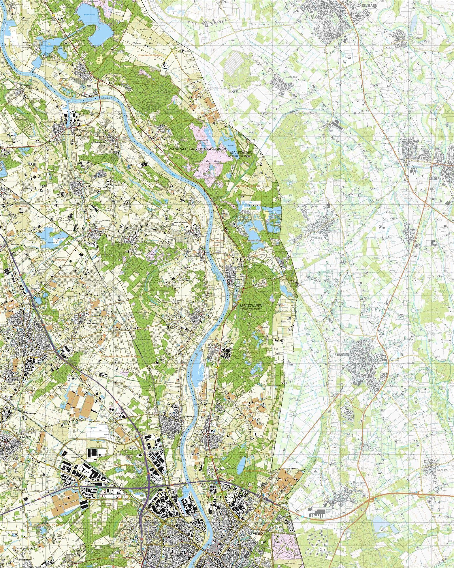 Topografische kaart schaal 1:25.000 (Venlo, Blerick, Grubbenvorst, Horst, Sevenum, Arcen)