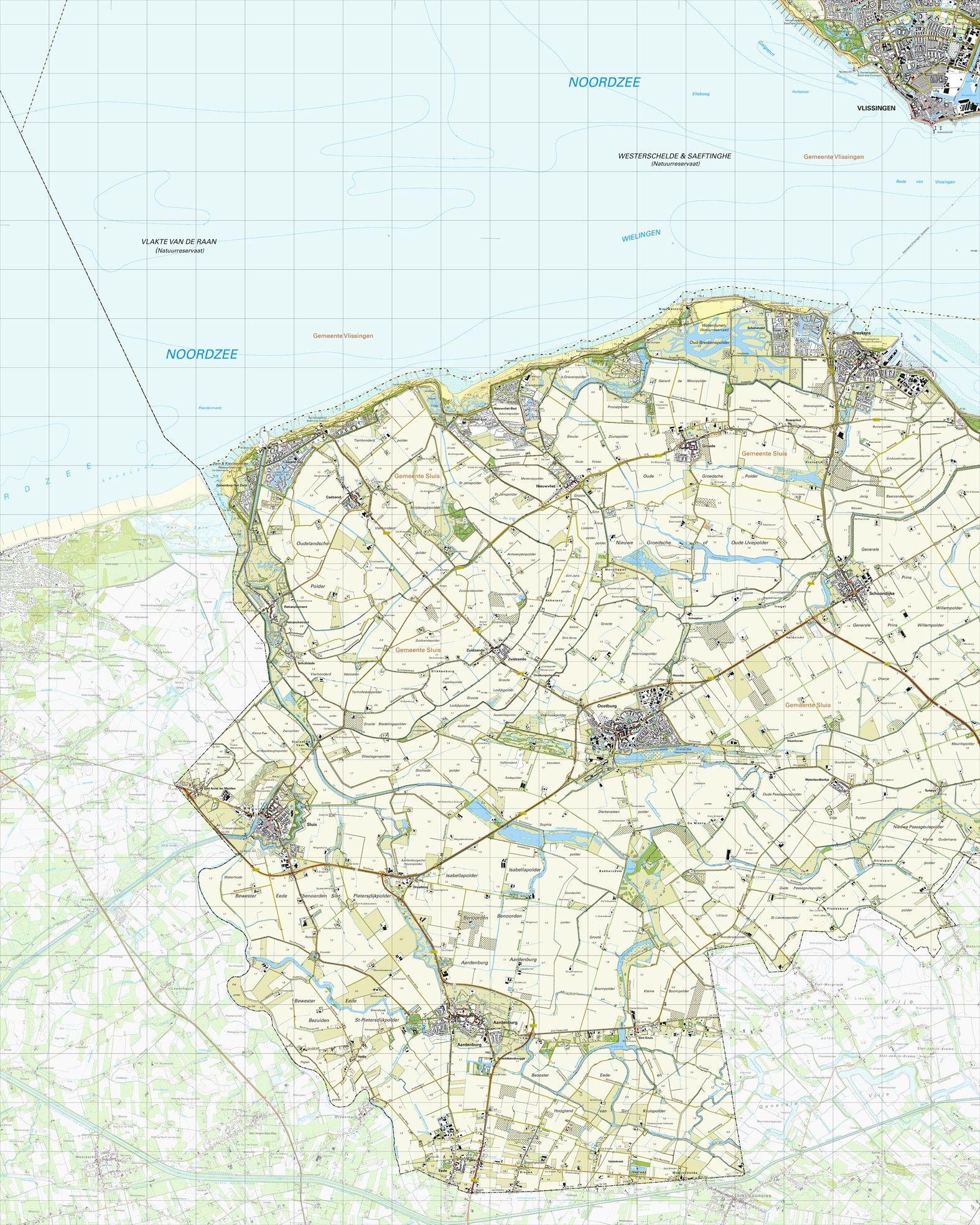 Topografische kaart schaal 1:25.000 (Vlissingen,Breskens, Schoondijke, Oostburg, Aardenburg, Sluis)