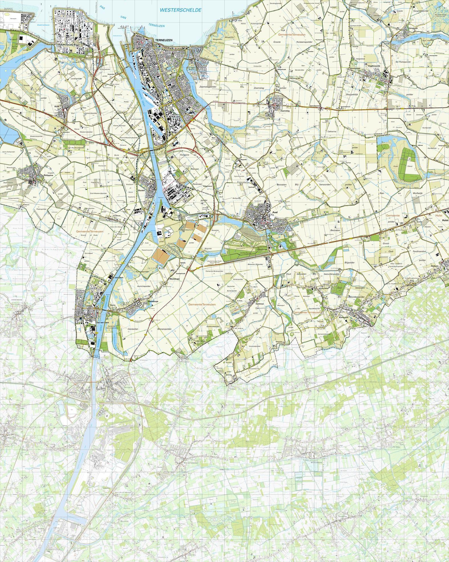 Topografische kaart schaal 1:25.000 (Terneuzen, Axel, Sas van Gent, Westdorpe, Koewacht, Heikant)