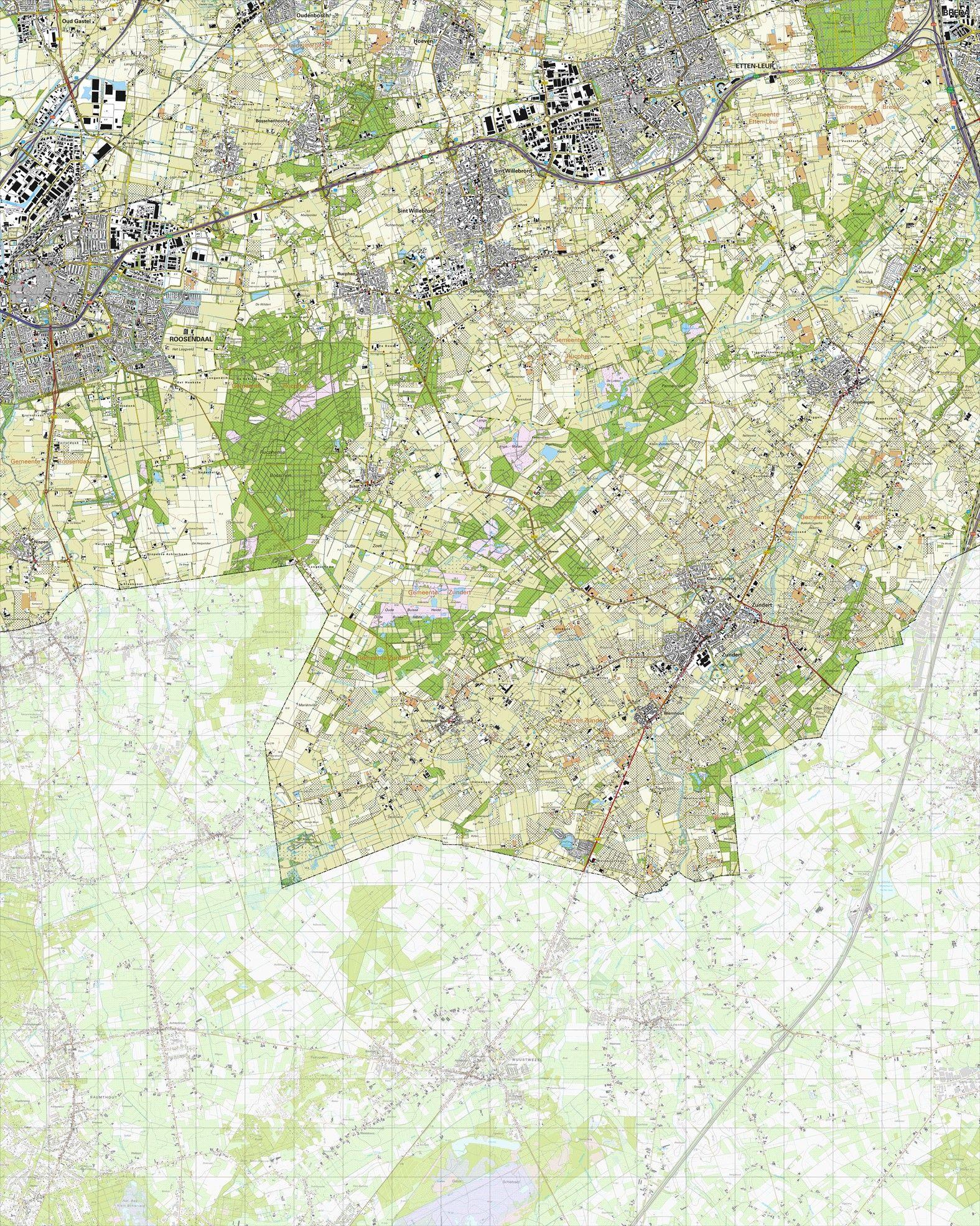 Topografische kaart schaal 1:25.000 (Roosendaal, Etten-Leur, Rucphen, Zundert, Hoeven)