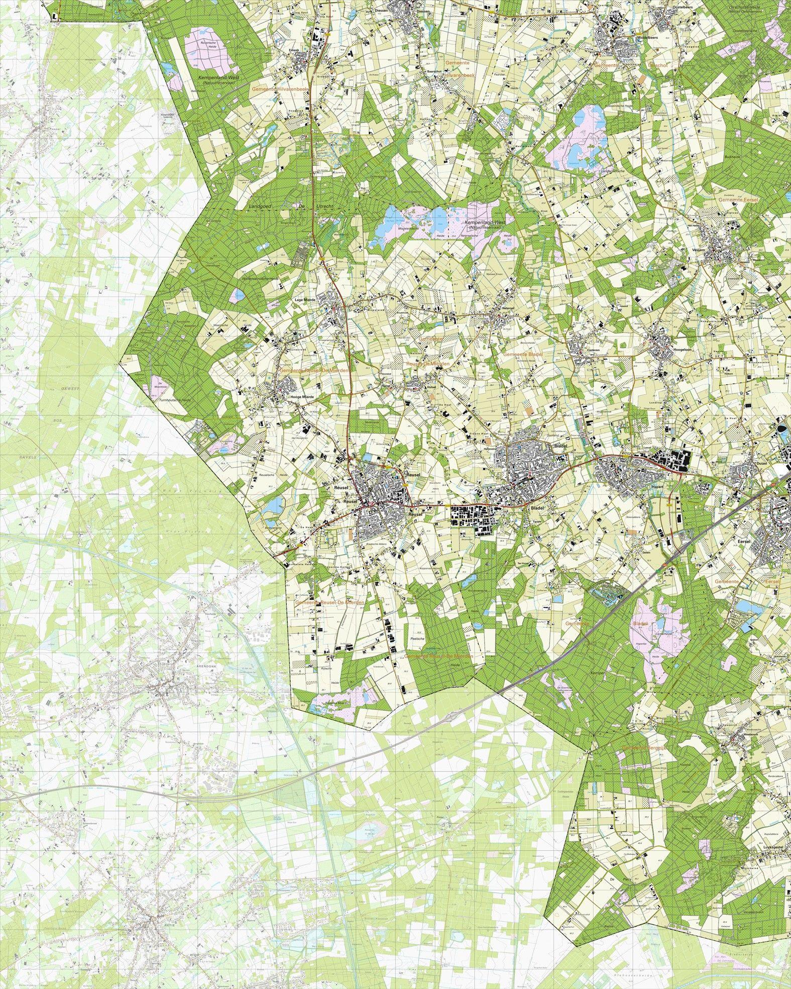 Topografische kaart schaal 1:25.000 (Reusel, Bladel, Hapert, Eersel, Vessem, Middelbeers)