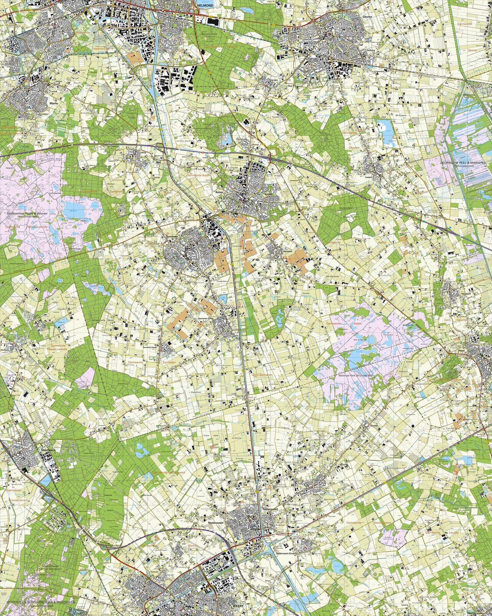 Topografische kaart schaal 1:25.000 (Helmond, Mierlo, Someren, Asten, Deurne, Weert, Maarheeze)