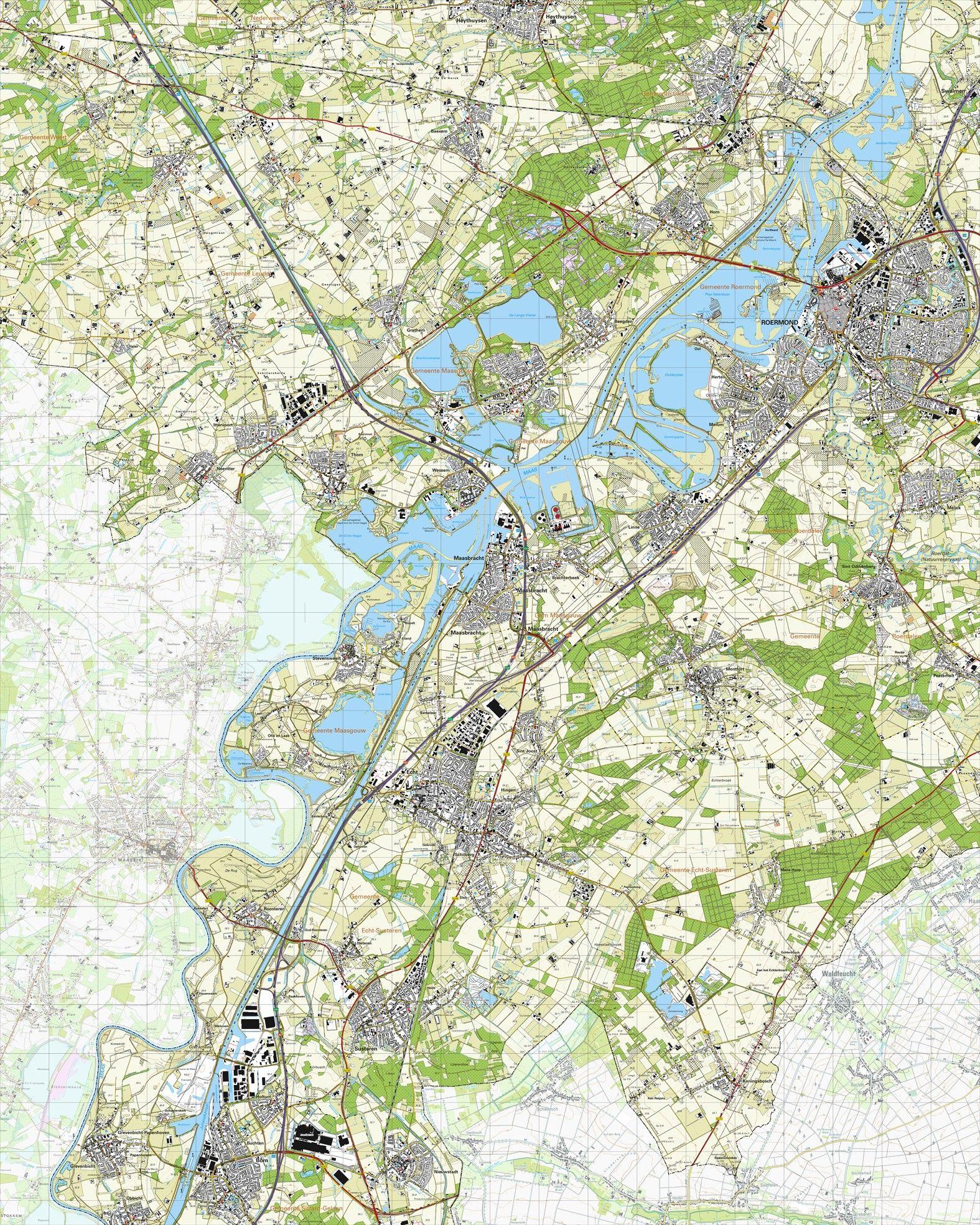 Topografische kaart schaal 1:25.000 (Roermond, Maasbracht, Echt, Susteren, Born)