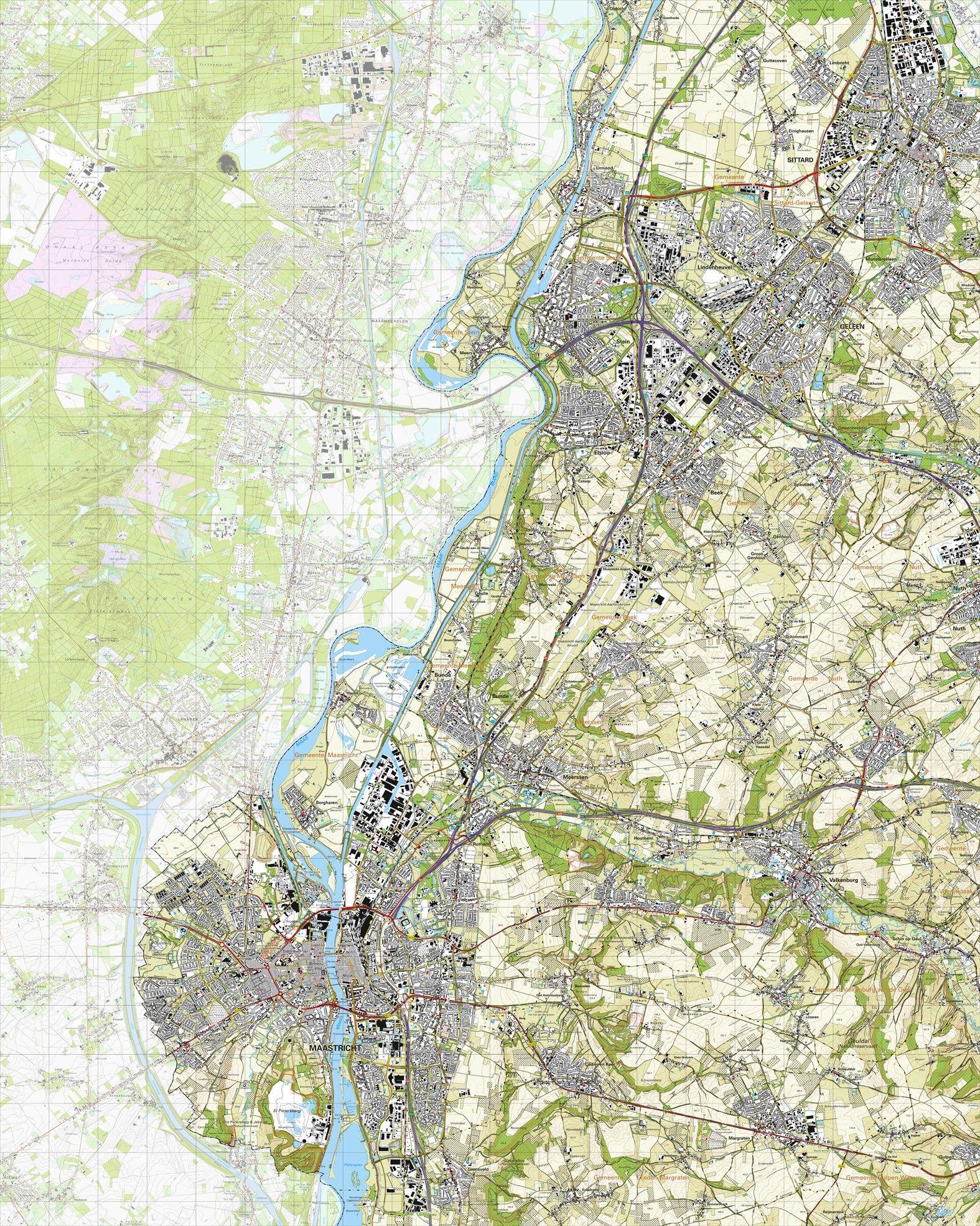 Koop Topografische kaart schaal 125000 Maastricht Meerssen