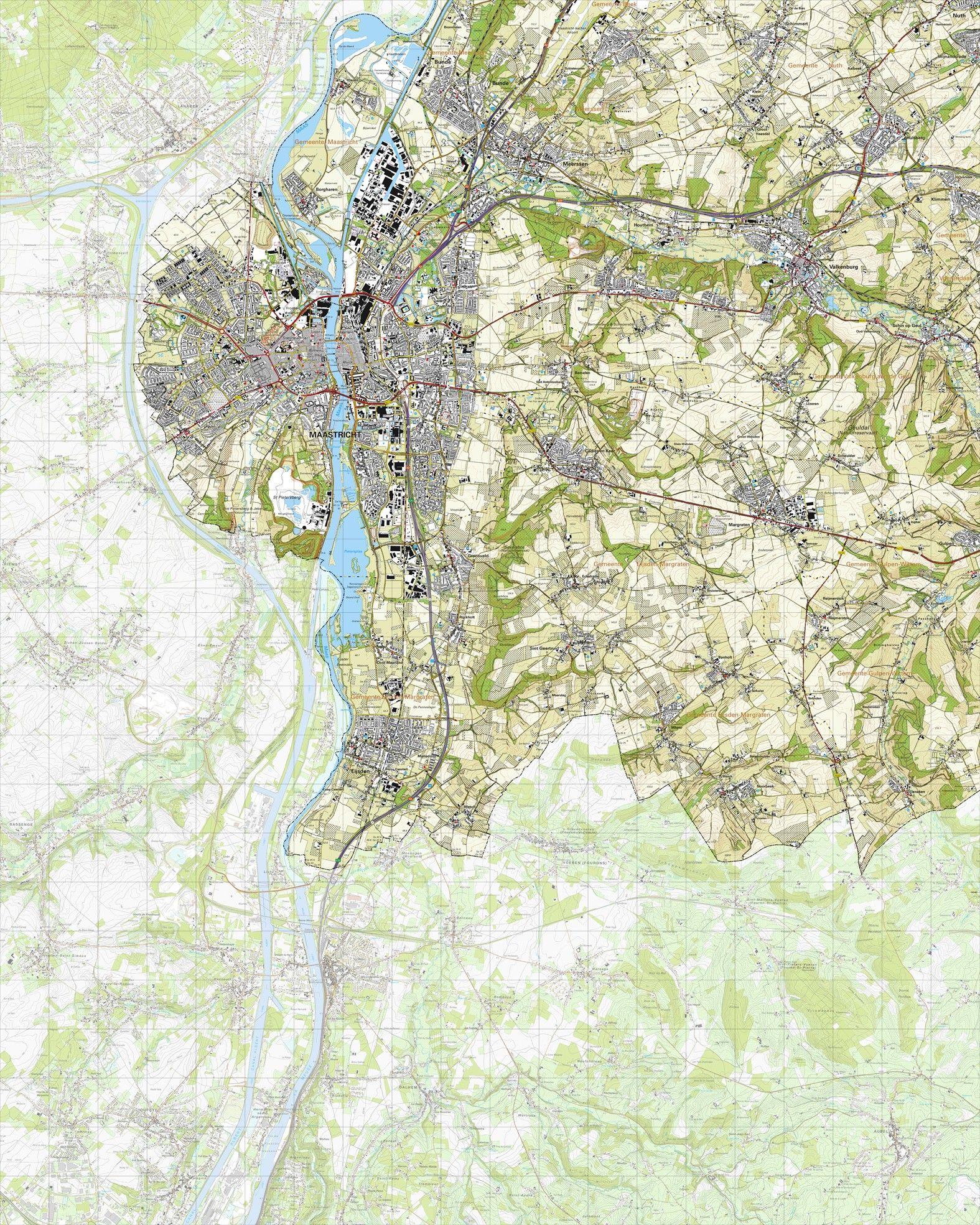 Topografische kaart schaal 1:25.000 (Maastricht, Meerssen, Valkenburg, Margraten, Eijsden, Nuth)