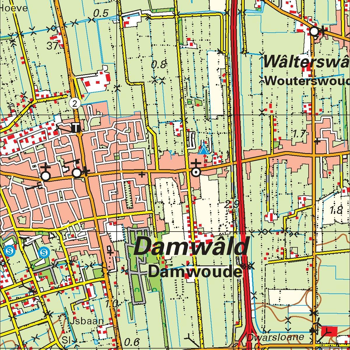 Topografische kaart schaal 1:50.000 (Ameland, Schiermonnikoog, Dokkum, Leeuwarden)