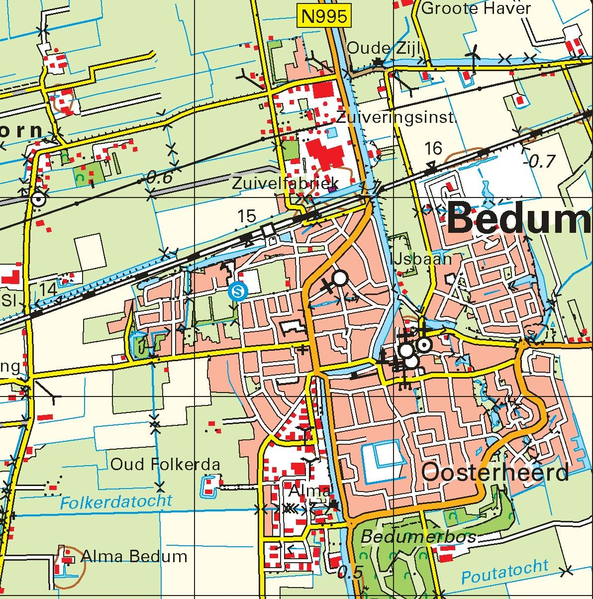 Topografische kaart schaal 1:50.000 (Delfzijl, Winsum, Groningen)