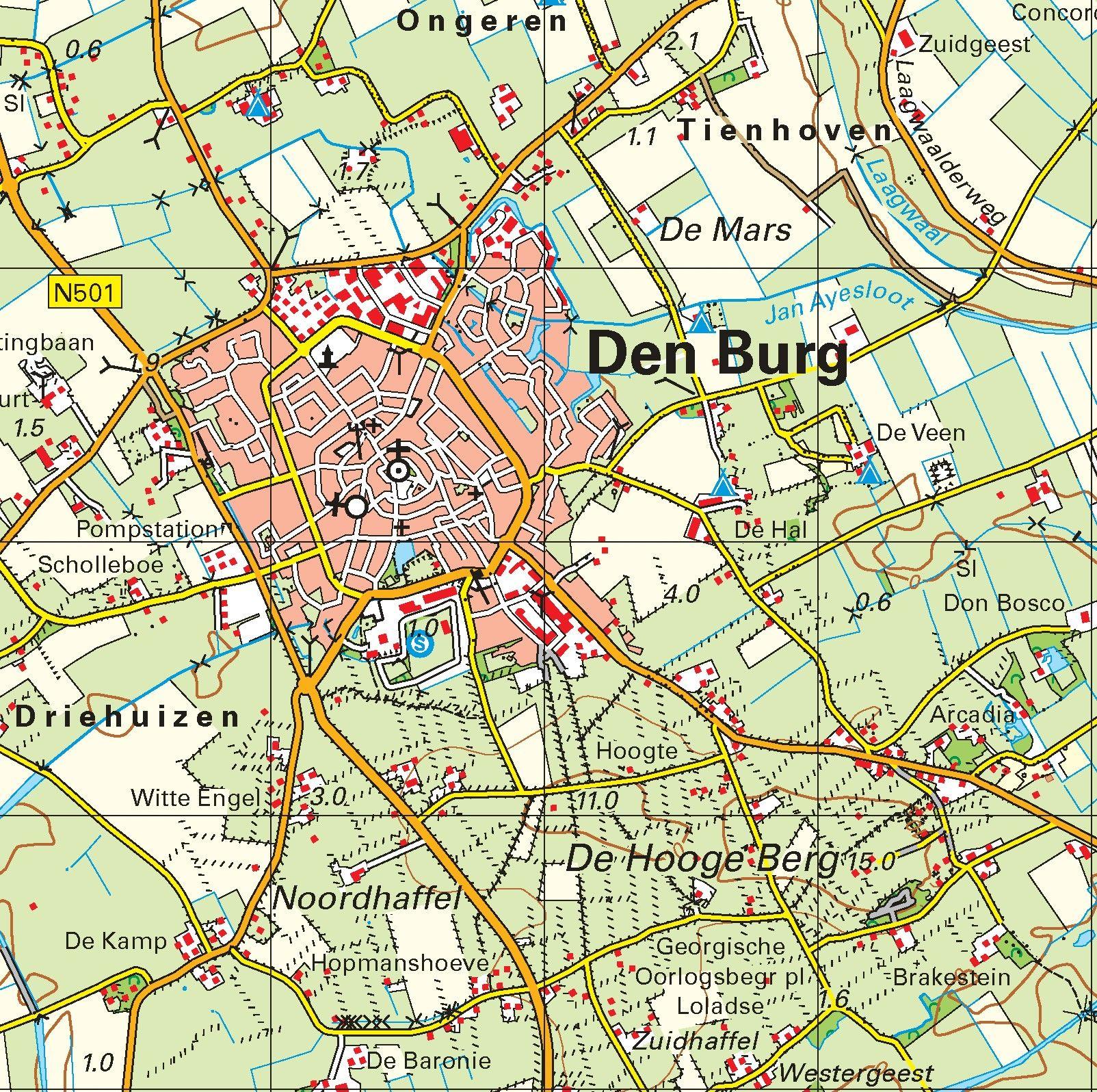 Topografische kaart schaal 1:50.000 (Vlieland, Texel, Den Helder)