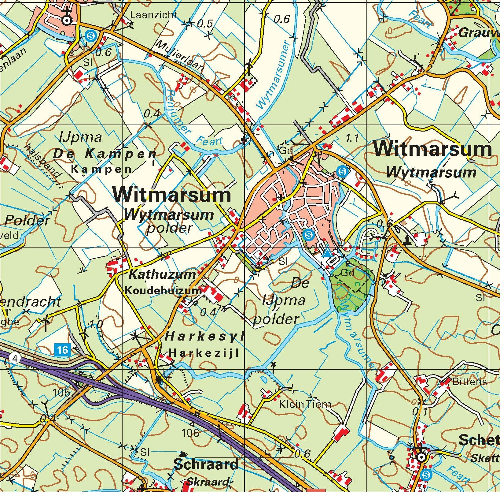 Topografische kaart schaal 1:50.000 (Harlingen , Bolsward,  Sneek)