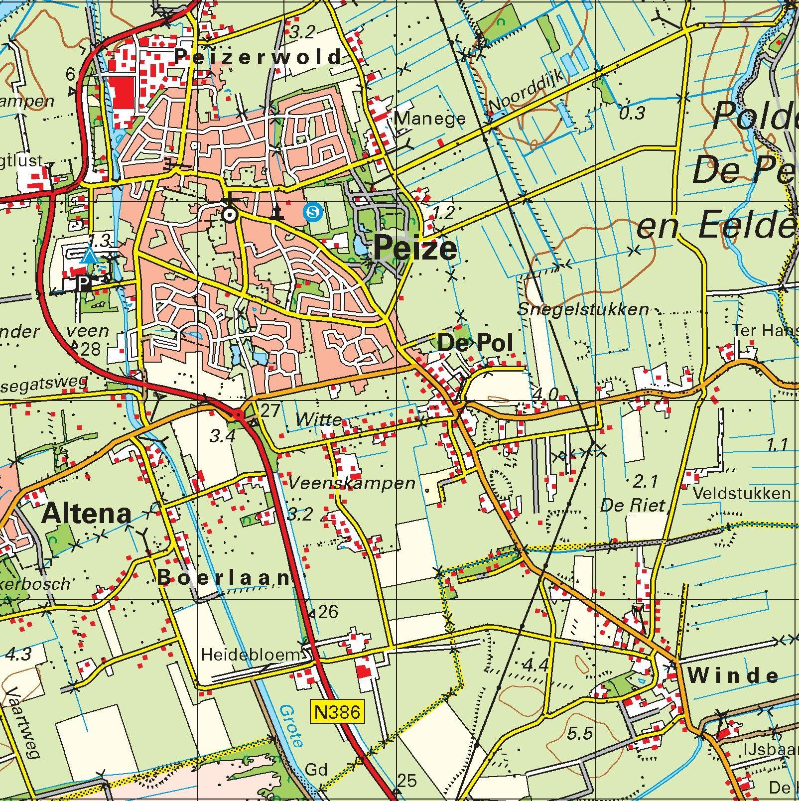 Topografische kaart schaal 1:50.000 (Groningen, Veendam, Assen)