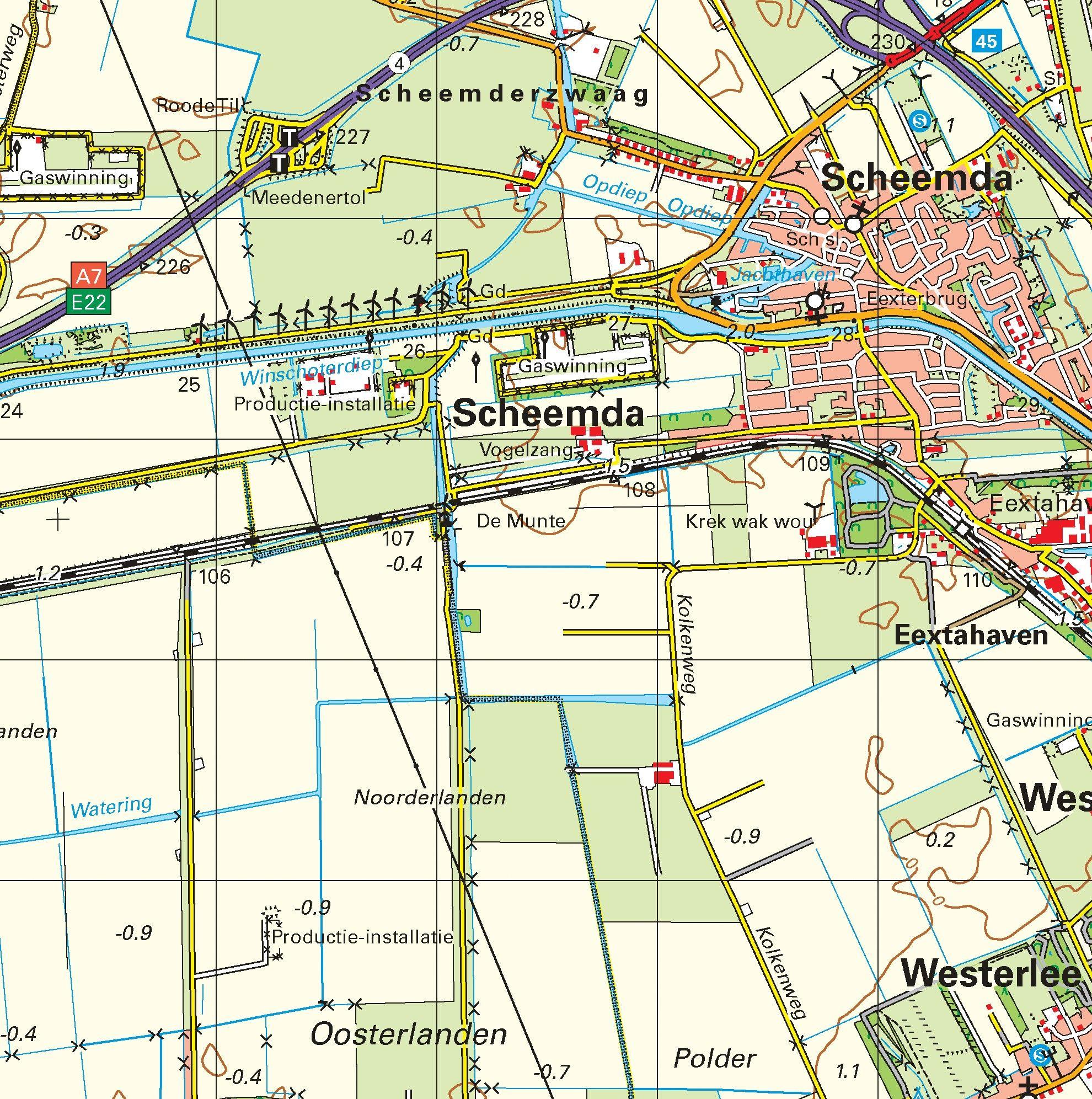 Topografische kaart schaal 1:50.000 (Delfzijl, Winschoten, Stadskanaal)