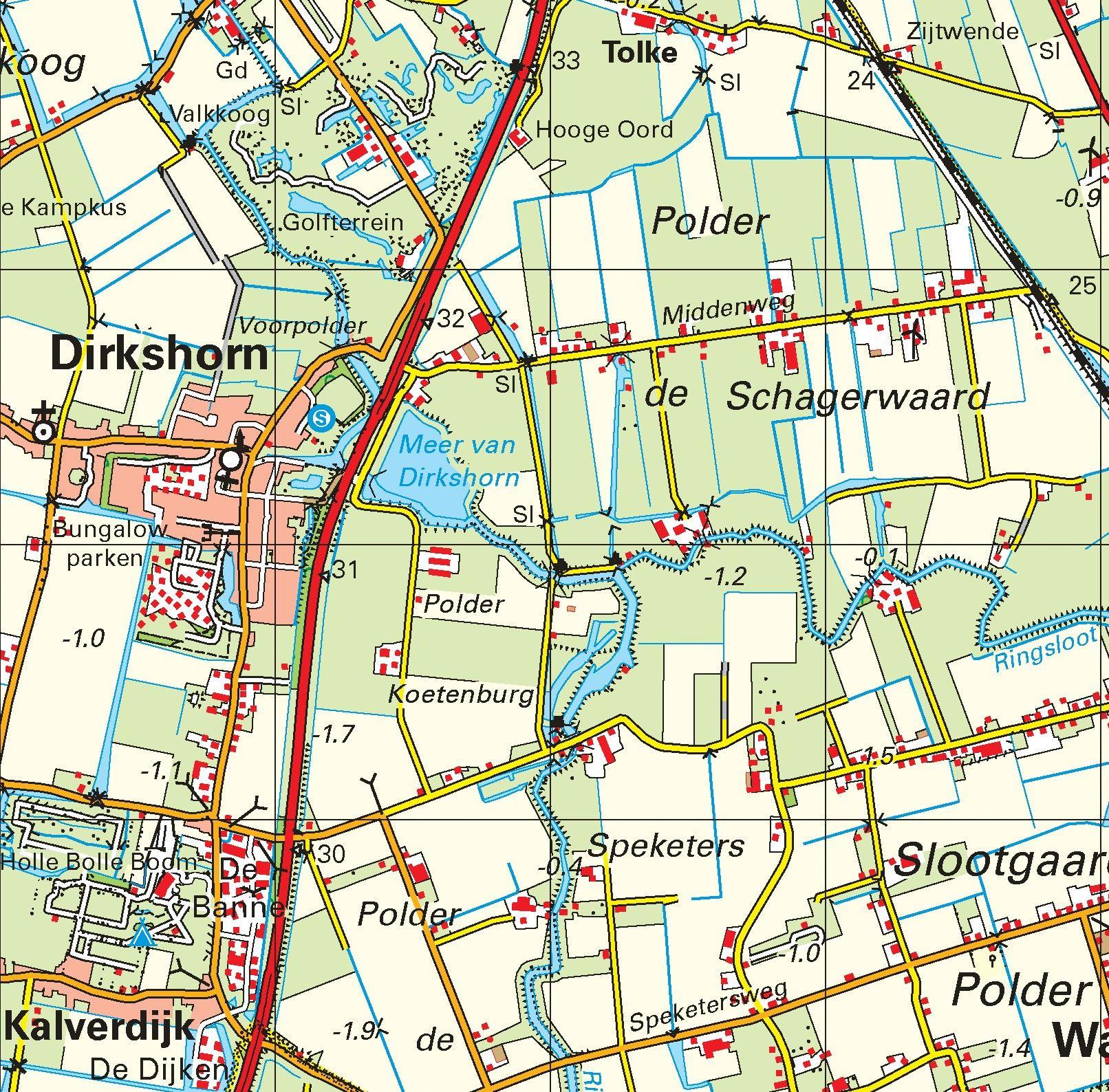 Topografische kaart schaal 1:50.000 (Alkmaar, Schagen, Hoorn, Heerhugowaard)