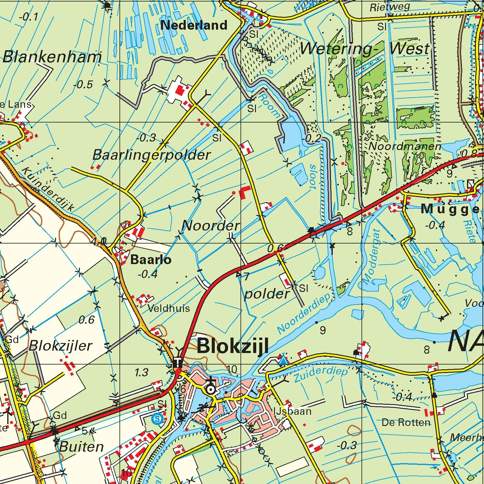 Topografische kaart schaal 1:50.000 (Emmeloord, Wolvega, Steenwijk ,Meppel, Zwolle)