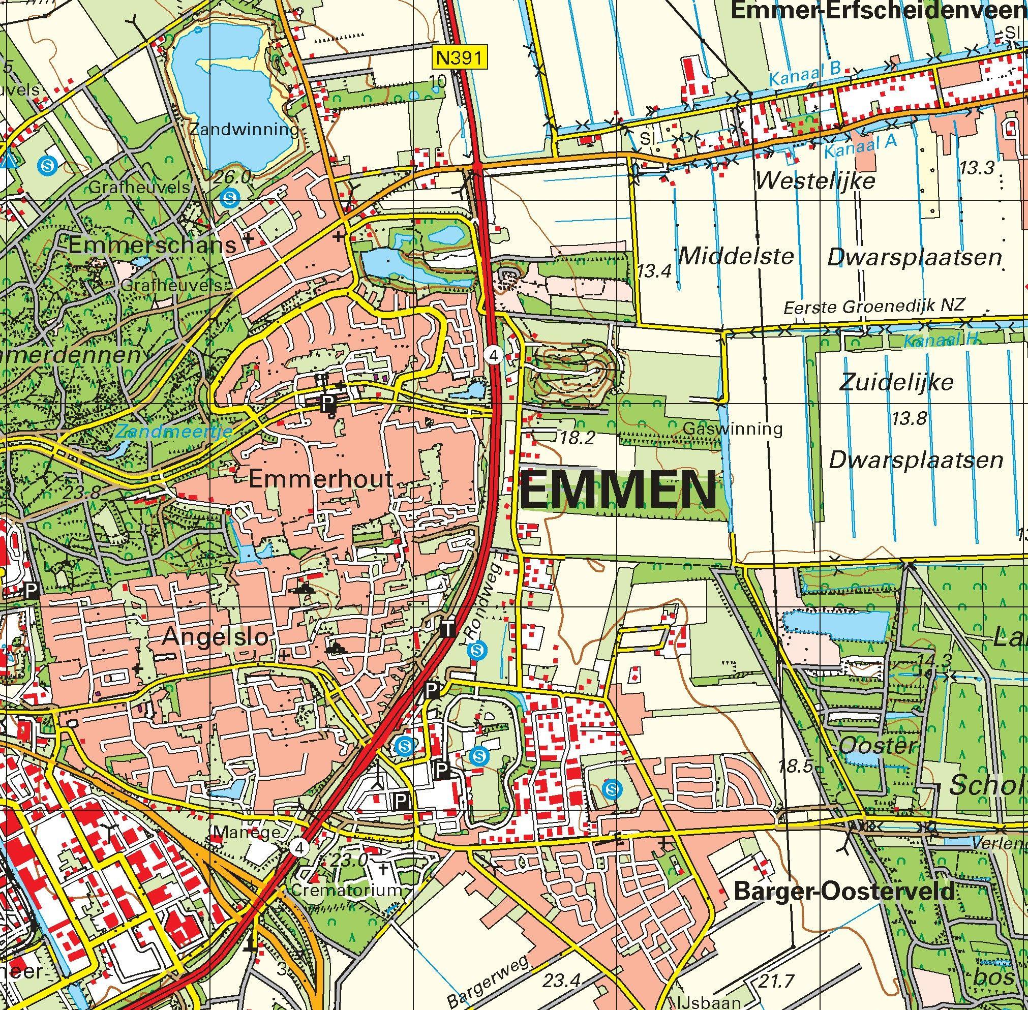 Topografische kaart schaal 1:50.000 (Ter Apel, Emmen, Coevorden, Hardenberg)
