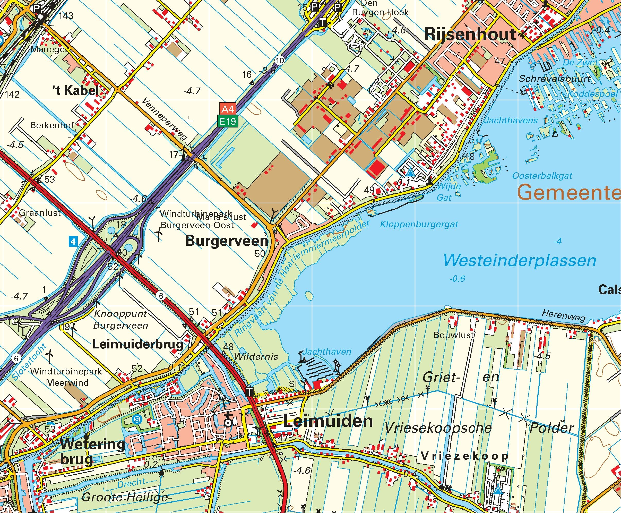 Topografische kaart schaal 1:50.000 (Haarlem, Amsterdam, Hoofddorp, Leiden, Alphen aan den Rijn