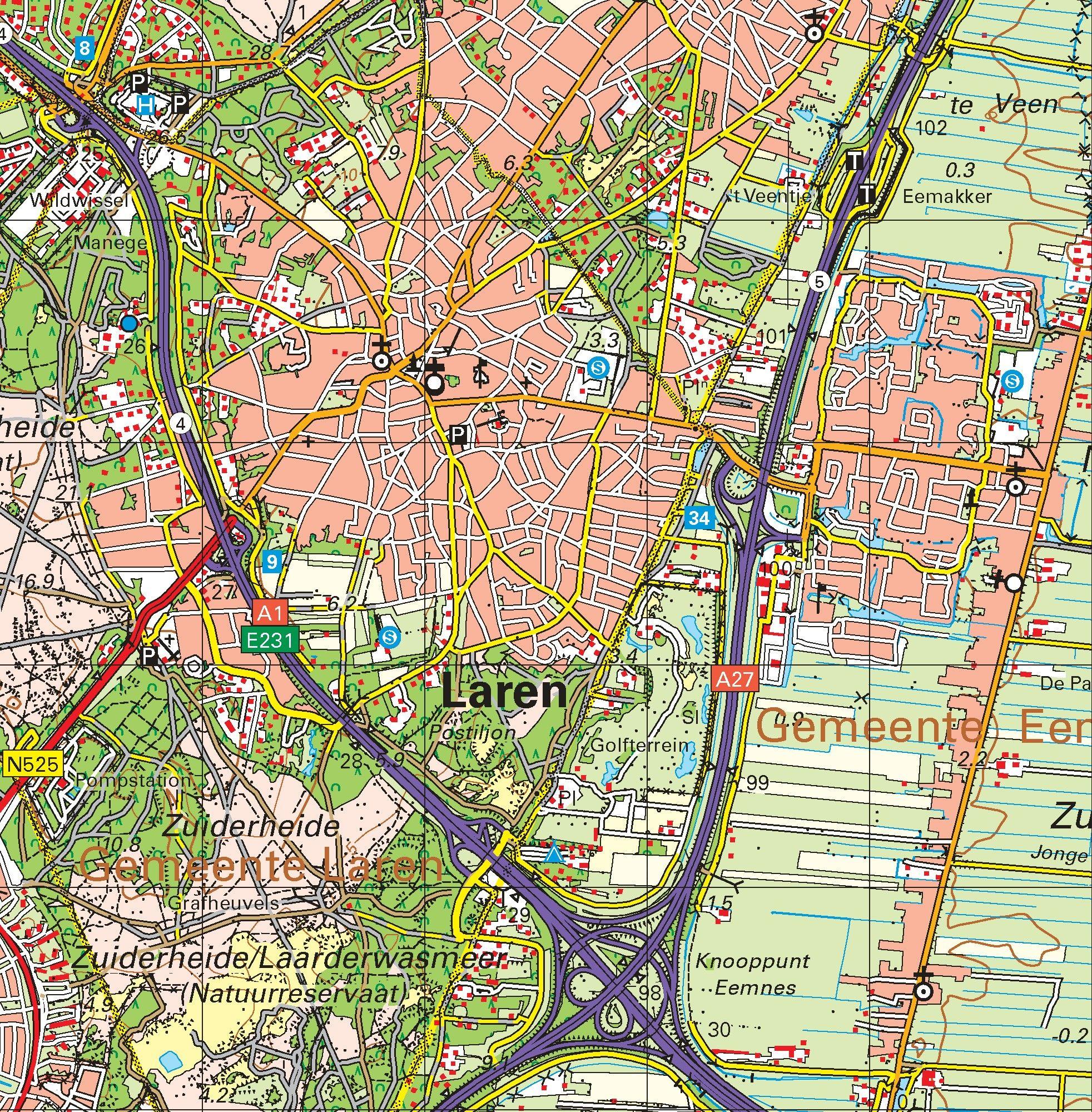 Topografische kaart schaal 1:50.000 (Amsterdam, Almere, Hilversum, Amersfoort, Utrecht)