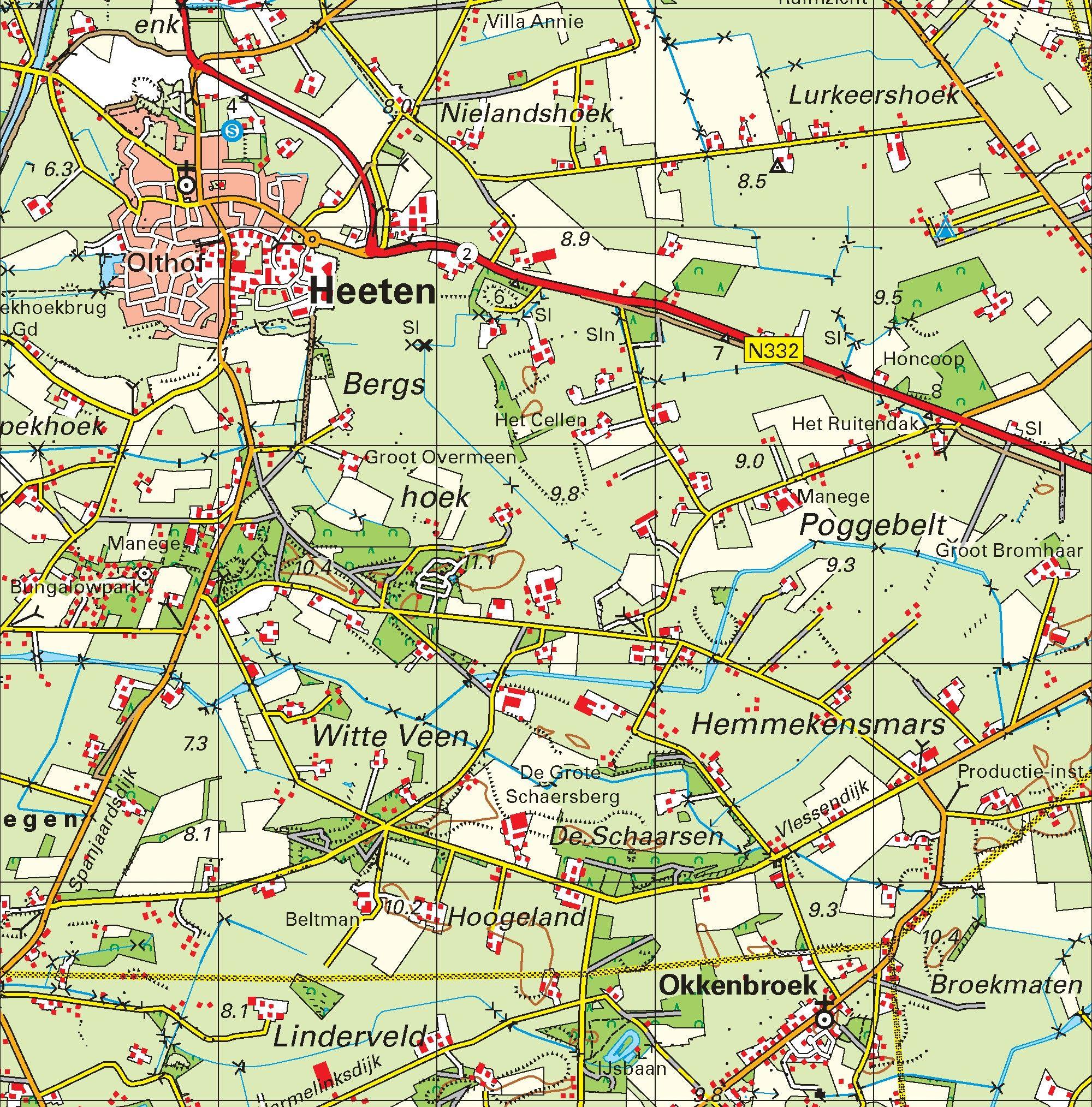 Topografische kaart schaal 1:50.000 (Raalte, Rijssen, Almelo, Zutphen, Deventer)