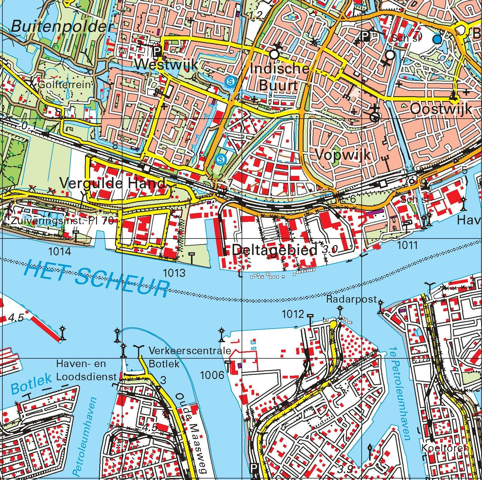 Topografische kaart schaal 1:50.000 (Oegstgeest Wassenaar Delft Den Haag Rotterdam)