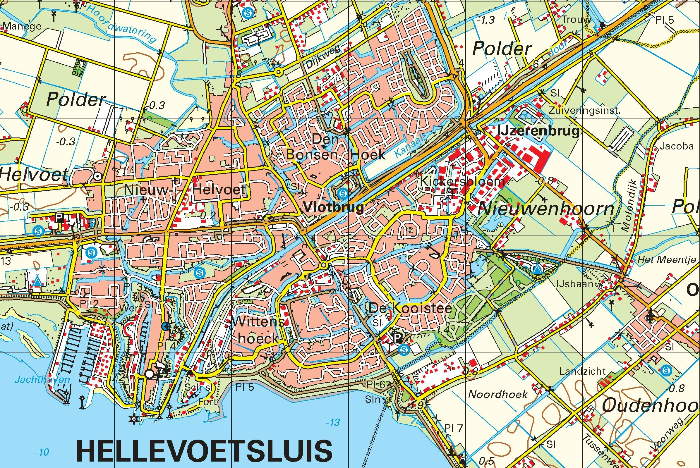 Topografische kaart schaal 1:50.000 (Hoek van Holland , Brielle , Hellevoetsluis, Zierikzee)