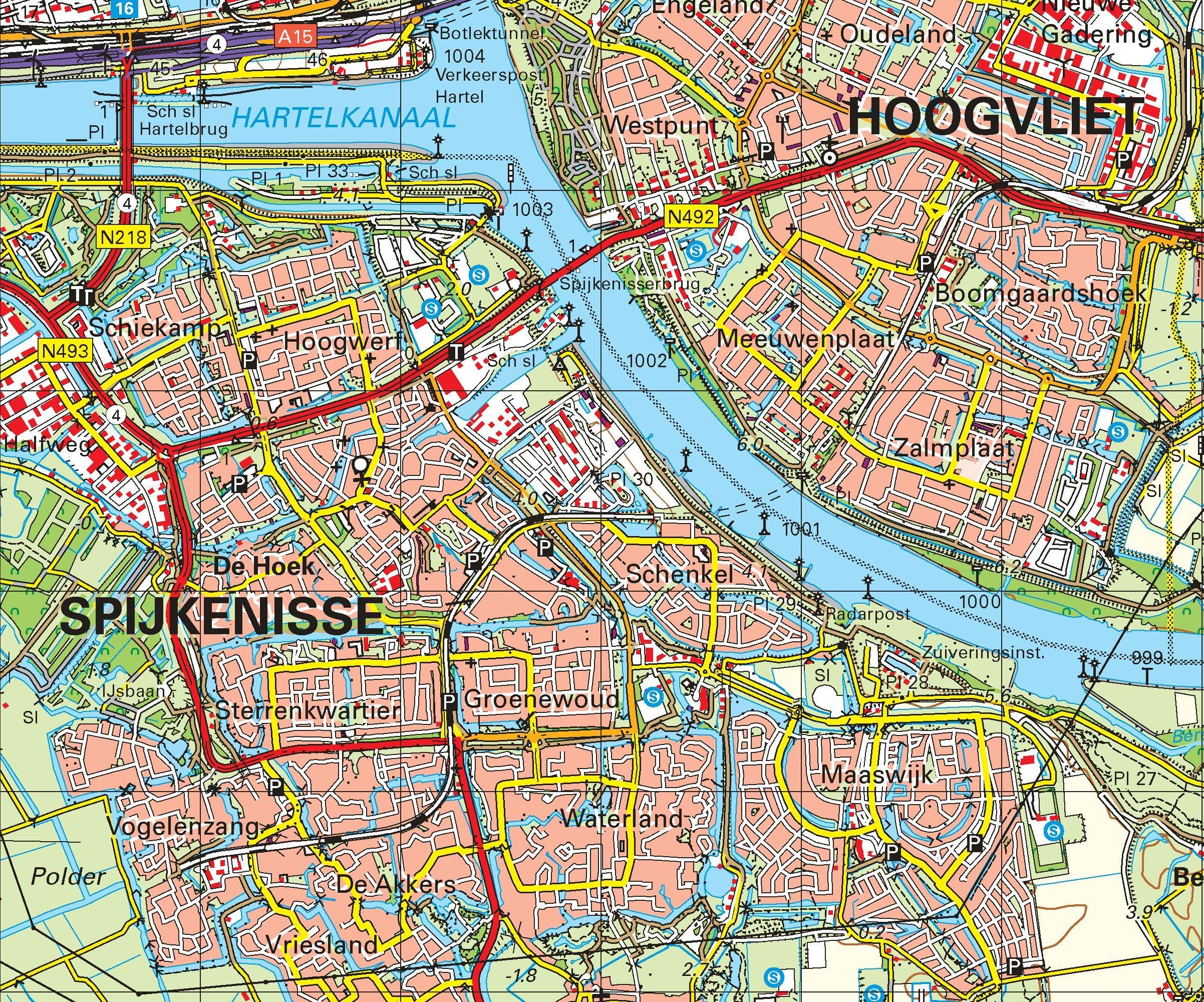 Topografische kaart schaal 1:50.000 (Rotterdam, Schiedam, Spijkenisse, Oud-Beijerland)
