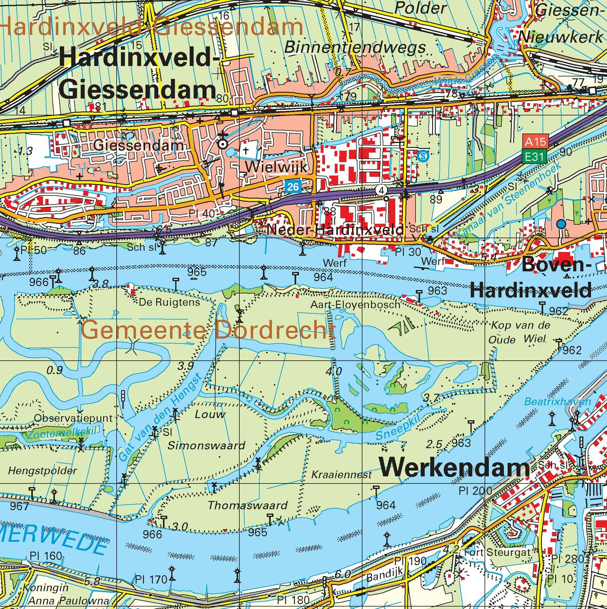 Topografische kaart schaal 1:50.000 (Gouda, Utrecht, Dordrecht, Gorinchem, Oosterhout)