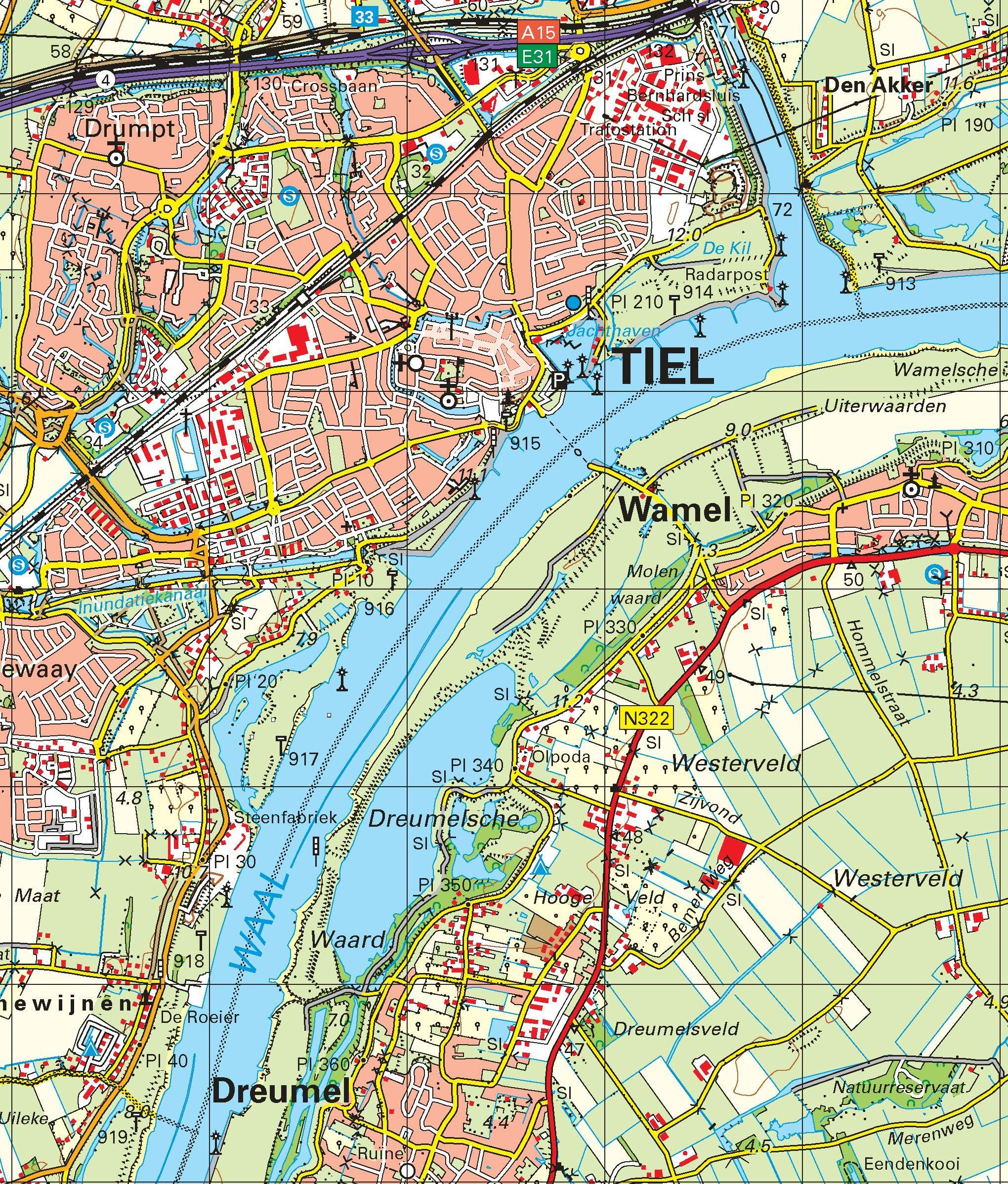 Topografische kaart schaal 1:50.000 (Culemborg, Tiel, Oss, 's-Hertogenbosch, Uden)