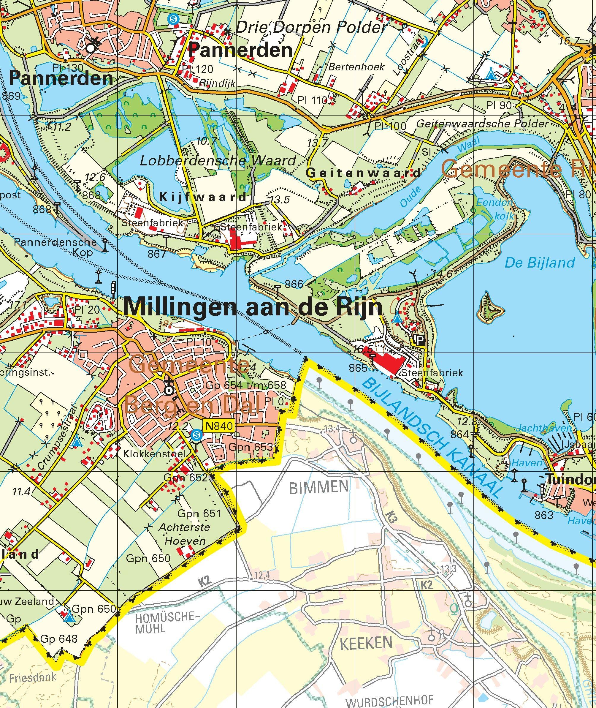 Topografische kaart schaal 1:50.000 (Arnhem, Nijmegen, Doetinchem ,Boxmeer)
