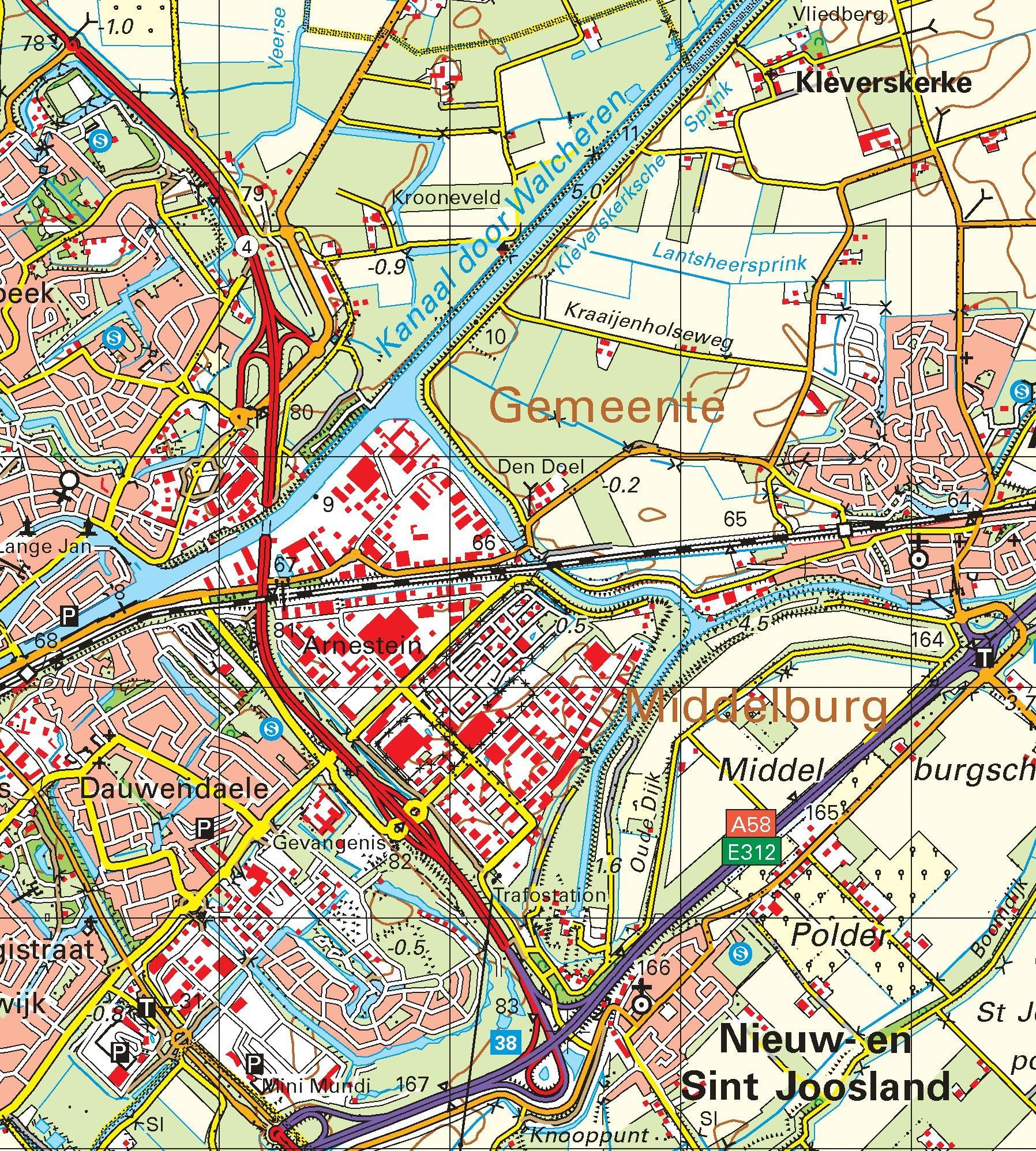 Topografische kaart schaal 1:50.000 (Middelburg, Vlissingen, Breskens, Oostburg, Sluis)