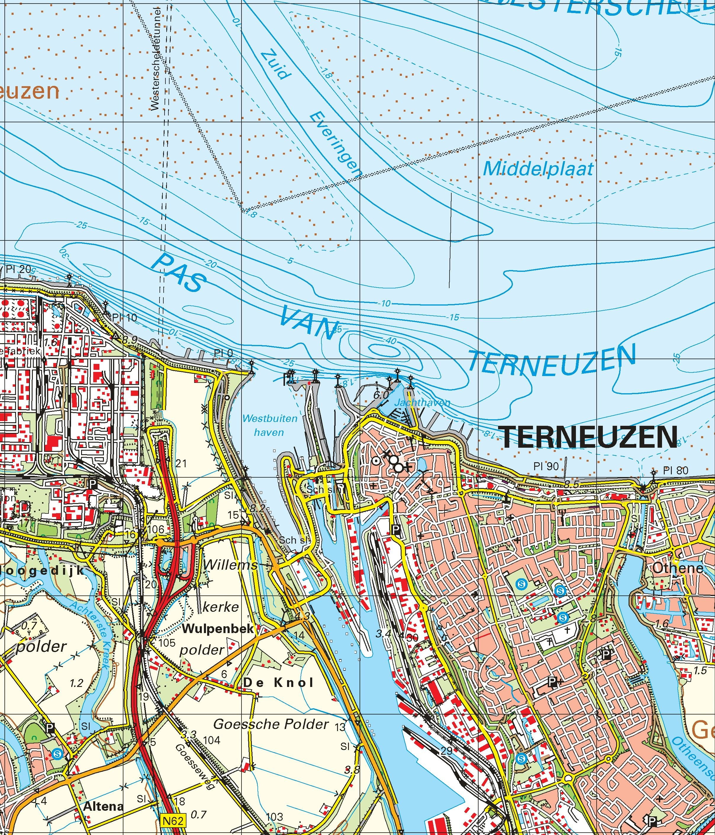 Topografische kaart schaal 1:50.000 (Goes, Tholen, Terneuzen, Hulst, Axel, Bergen op Zoom)
