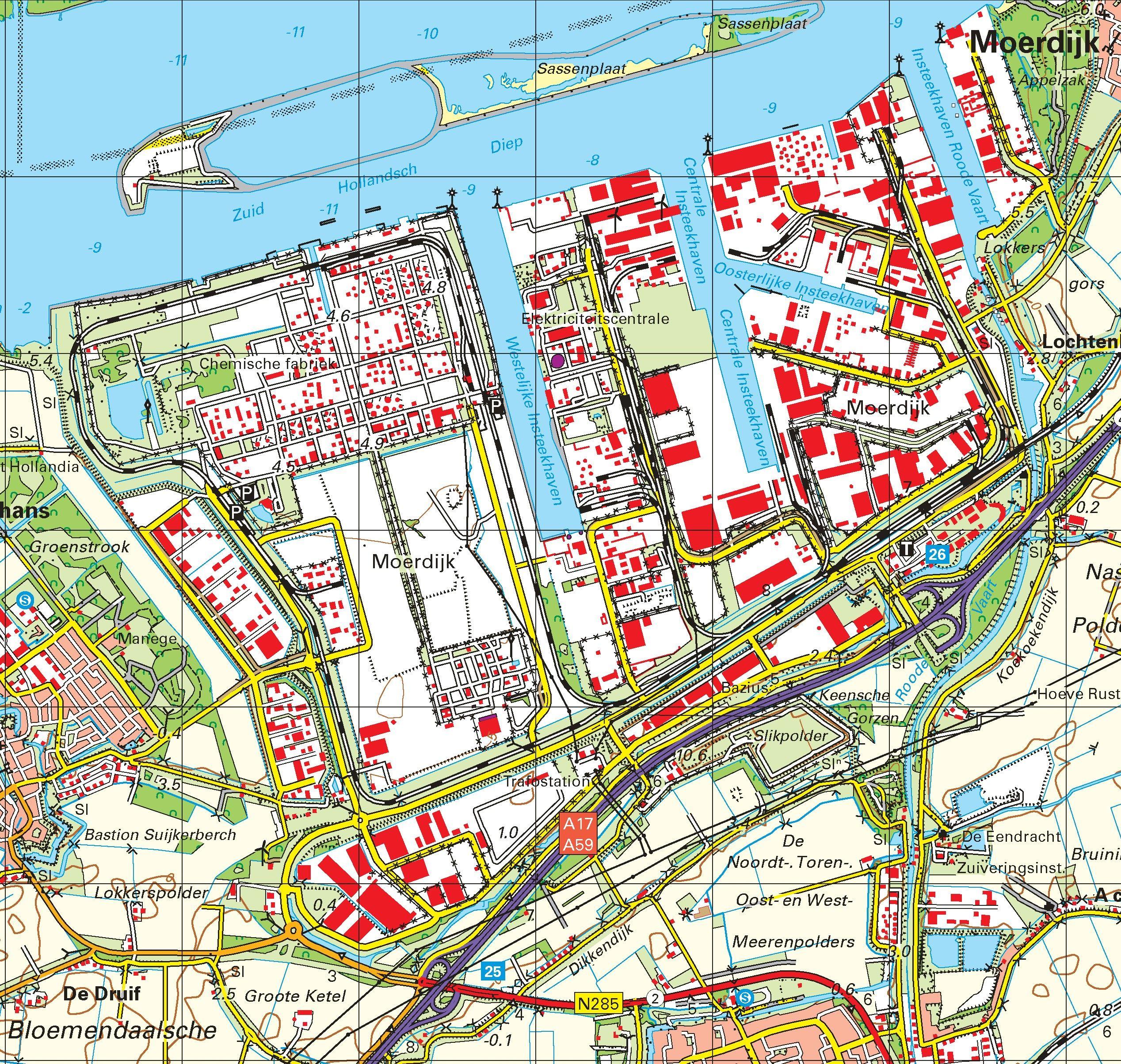 Topografische kaart schaal 1:50.000 (Dordrecht, Moerdijk, Breda, Etten-Leur, Roosendaal)