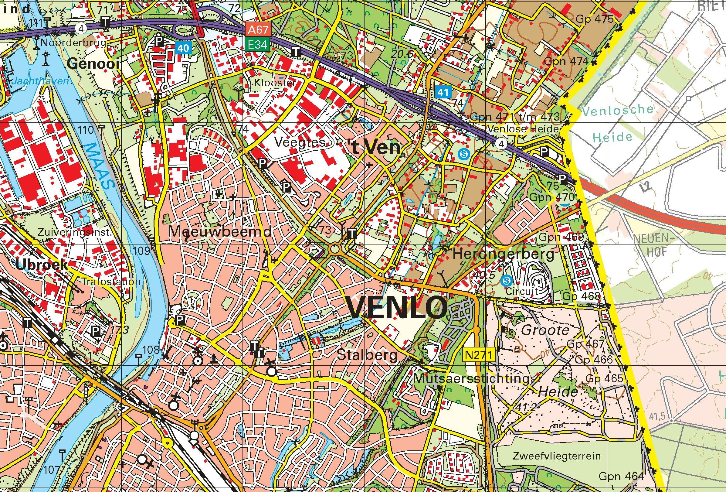 Topografische kaart schaal 1:50.000 (Deurne, Venray, Venlo, Tegelen, Roermond)
