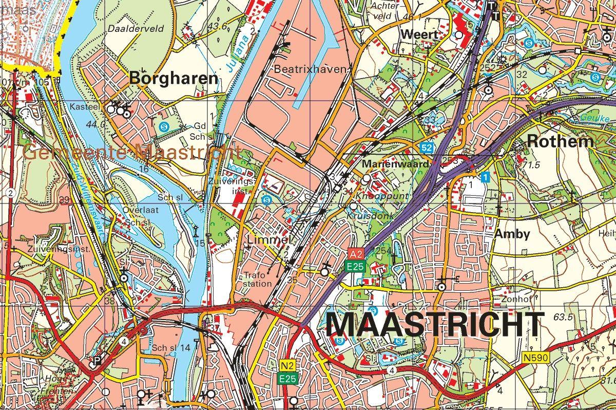 Topografische kaart schaal 1:50.000 (Sittard, Geleen, Heerlen, Maastricht, Valkenburg)